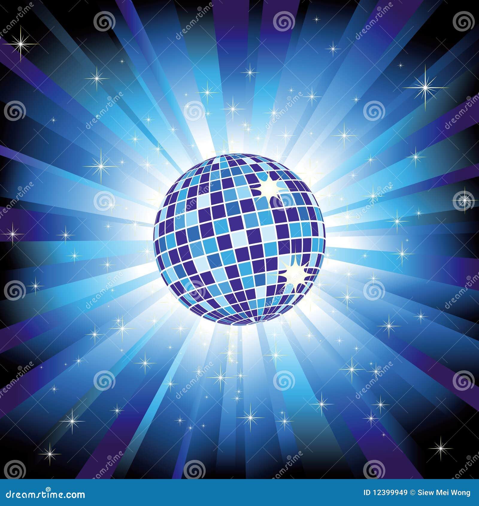 Sfera scintillante della discoteca sul burst blu dell indicatore luminoso