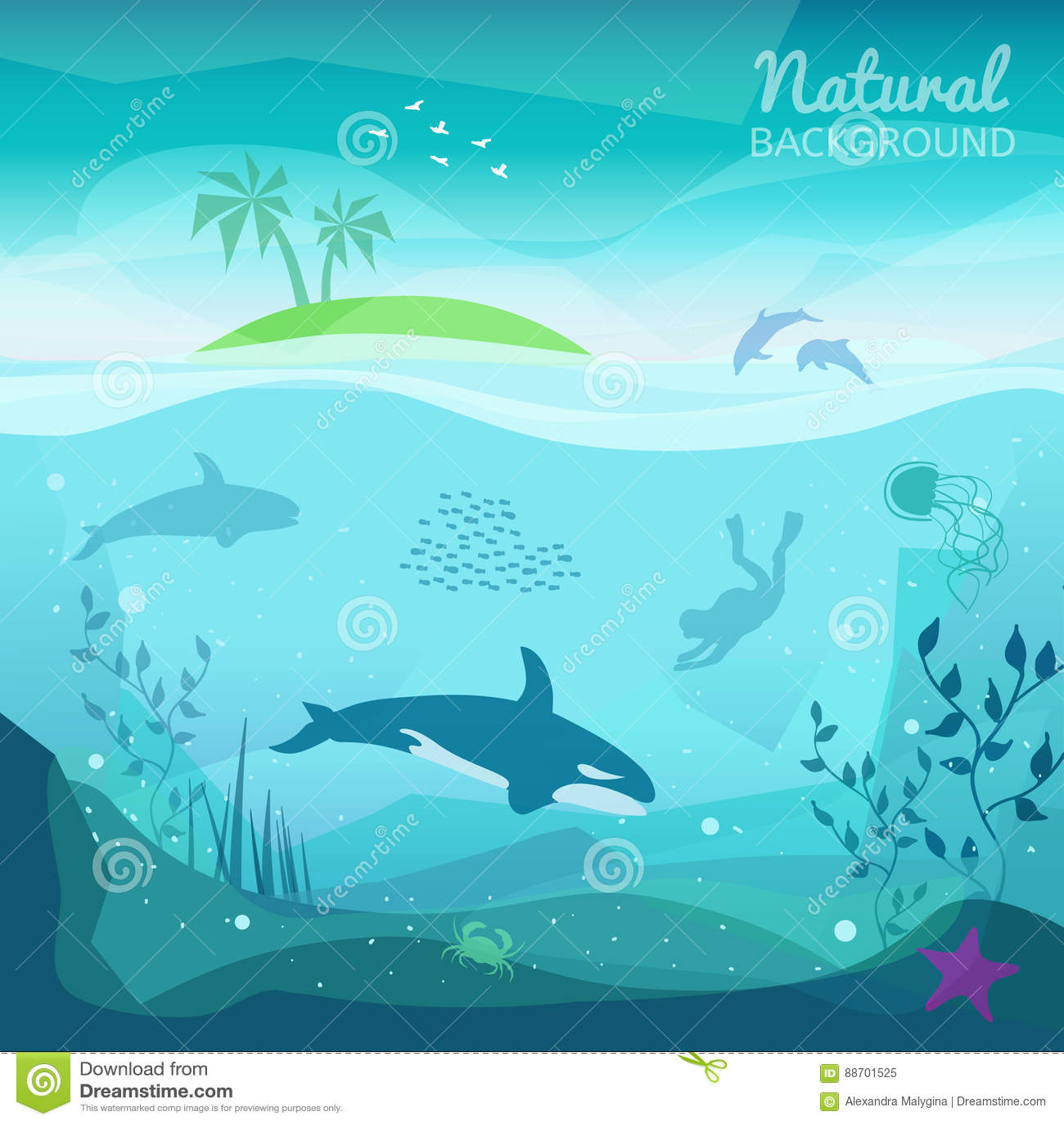 Sfondo Naturale Del Mare Tropicale Illustrazione Vettoriale