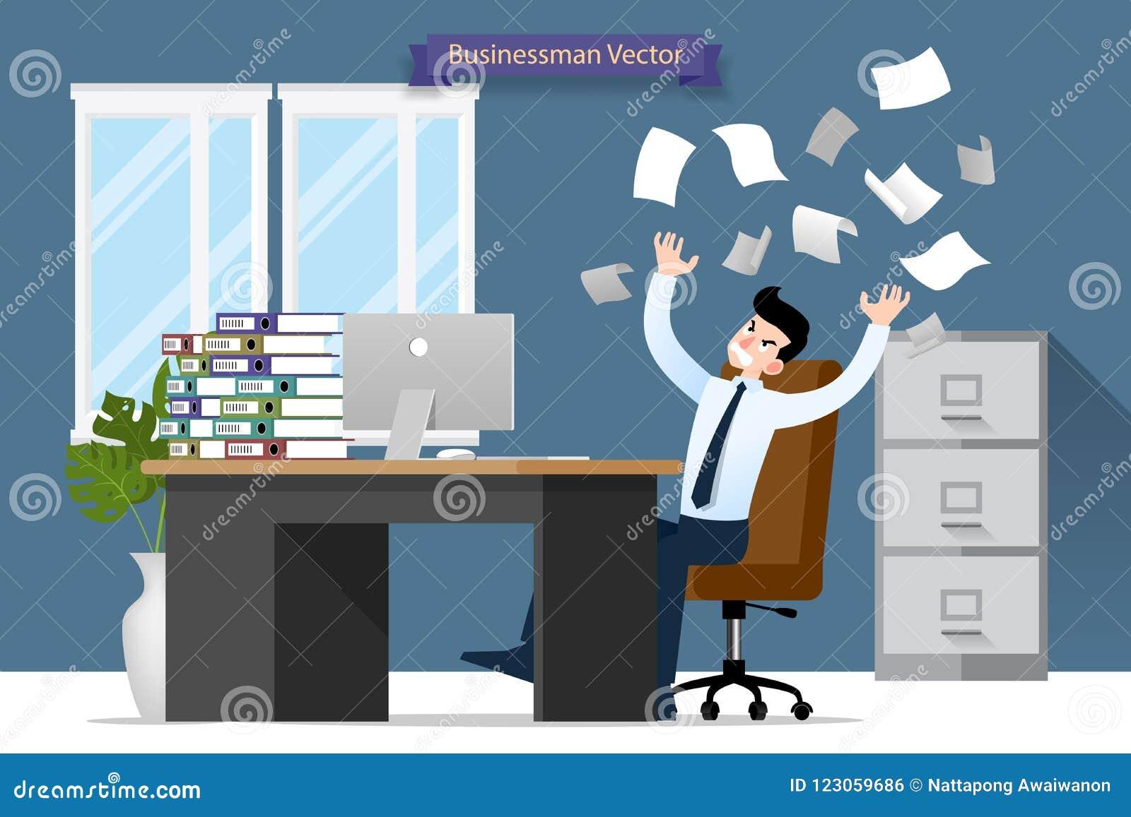 Sforzo dell uomo d affari allo scrittorio tramite molto lavoro Progettazione piana dell illustrazione di vettore del carattere de