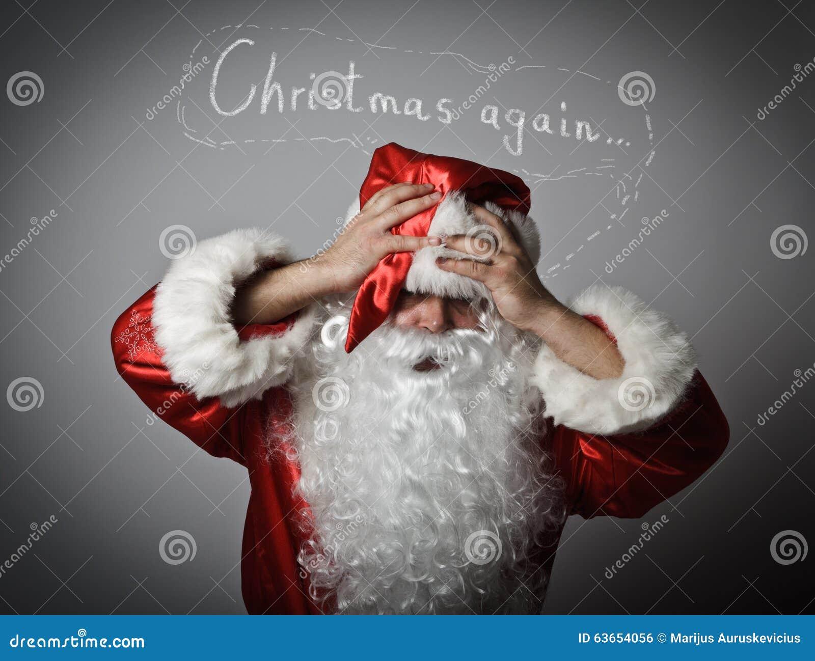 Sfrustowany Święty Mikołaj Pojęcie - boże narodzenia znowu