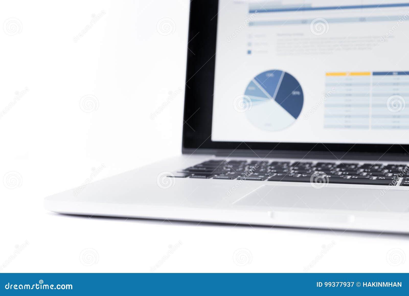 Sfuocatura dei grafici di statistiche visualizzati sullo schermo del computer portatile