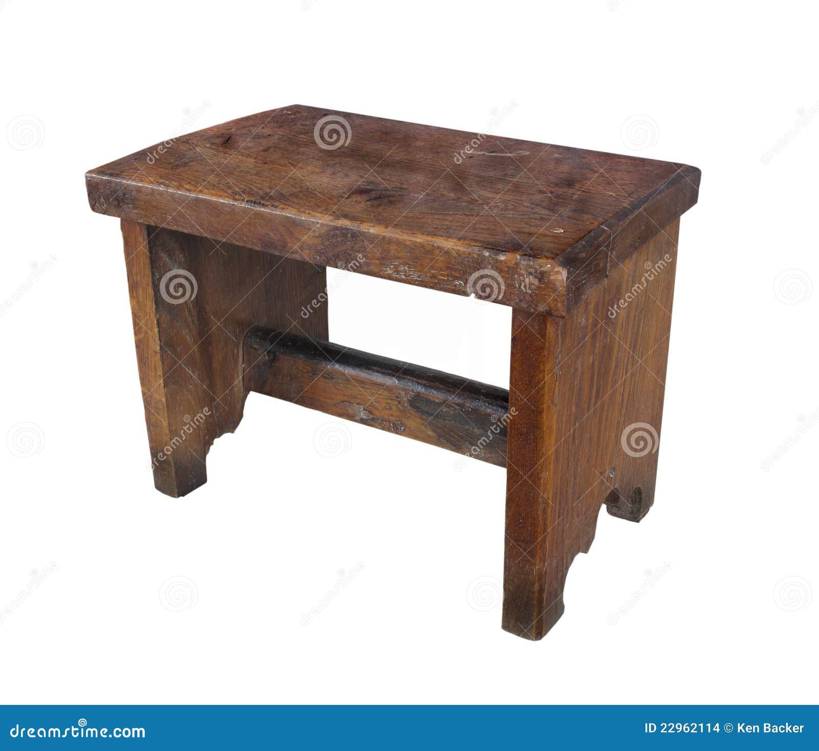 Sgabello di legno antico isolato immagini stock immagine for Sgabello bianco legno