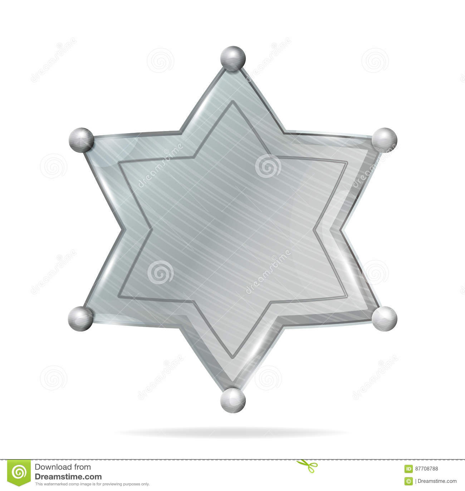 Shérif Badge Star Vector Blanc réaliste de shérif Badge Star en métal Blanc vide avec l ombre