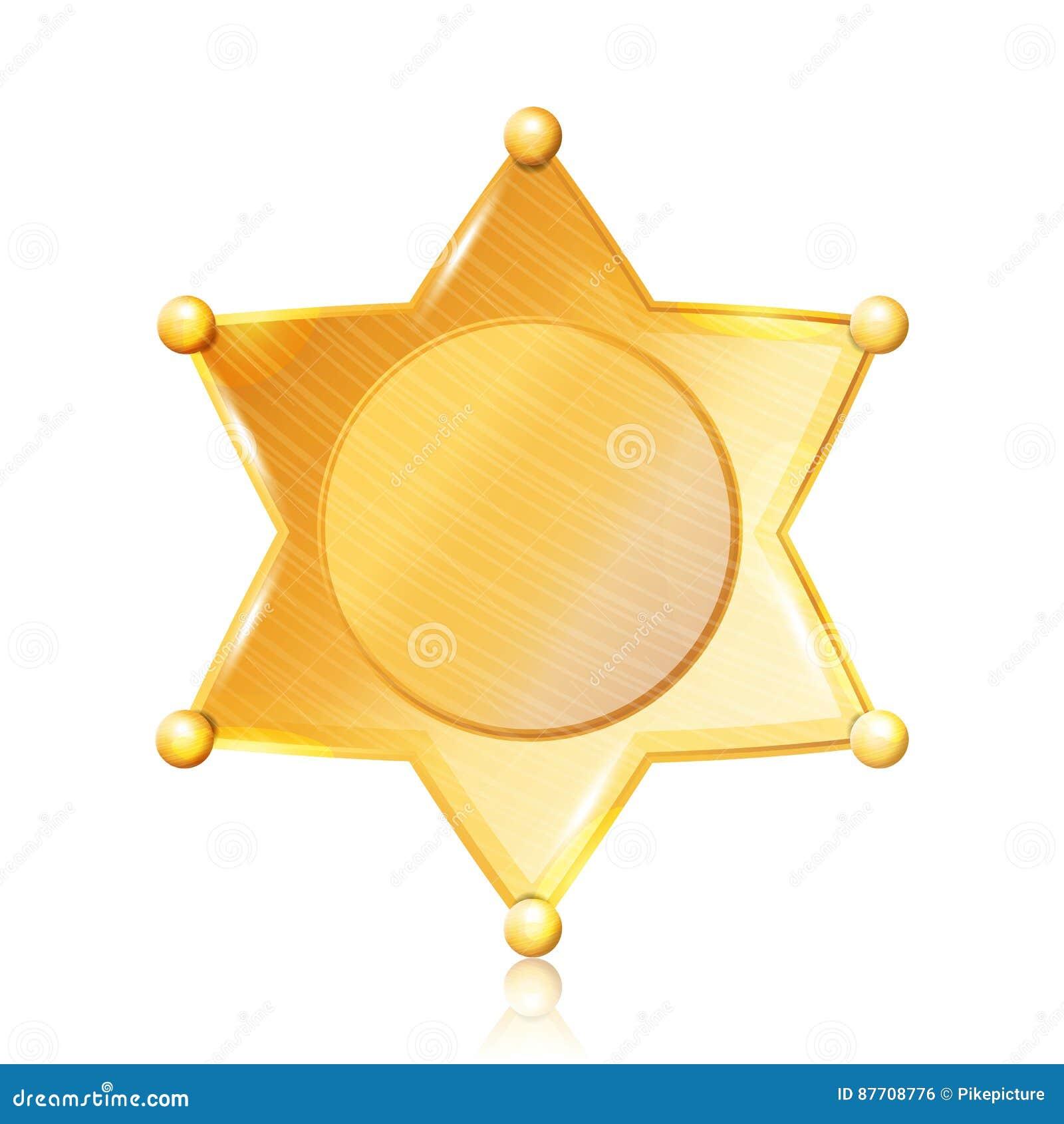 Shérif Badge Star Vector Symbole d or Département municipal de police de ville D isolement sur le fond noir