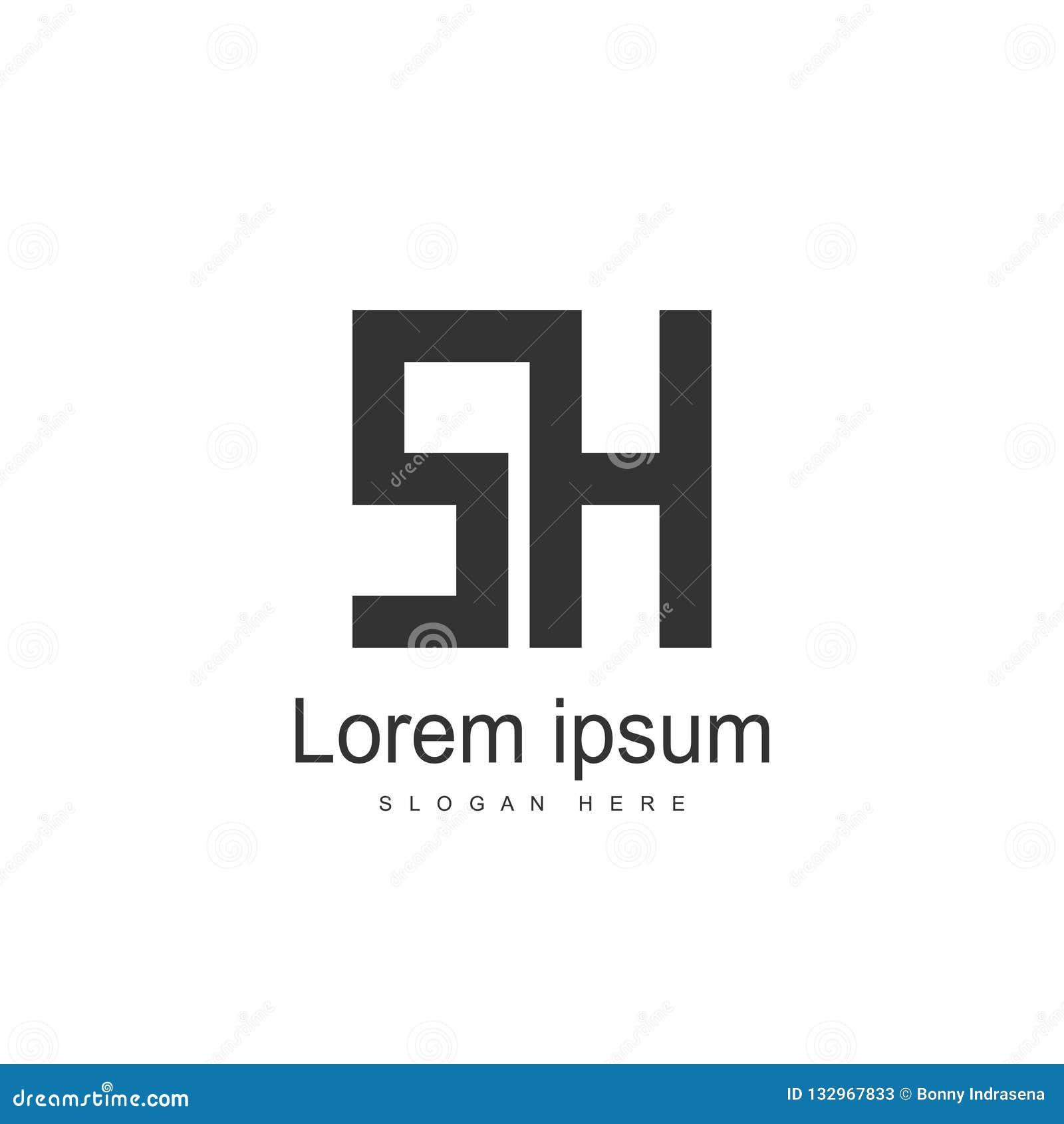 SH Letter logo design. Initial letter logo template