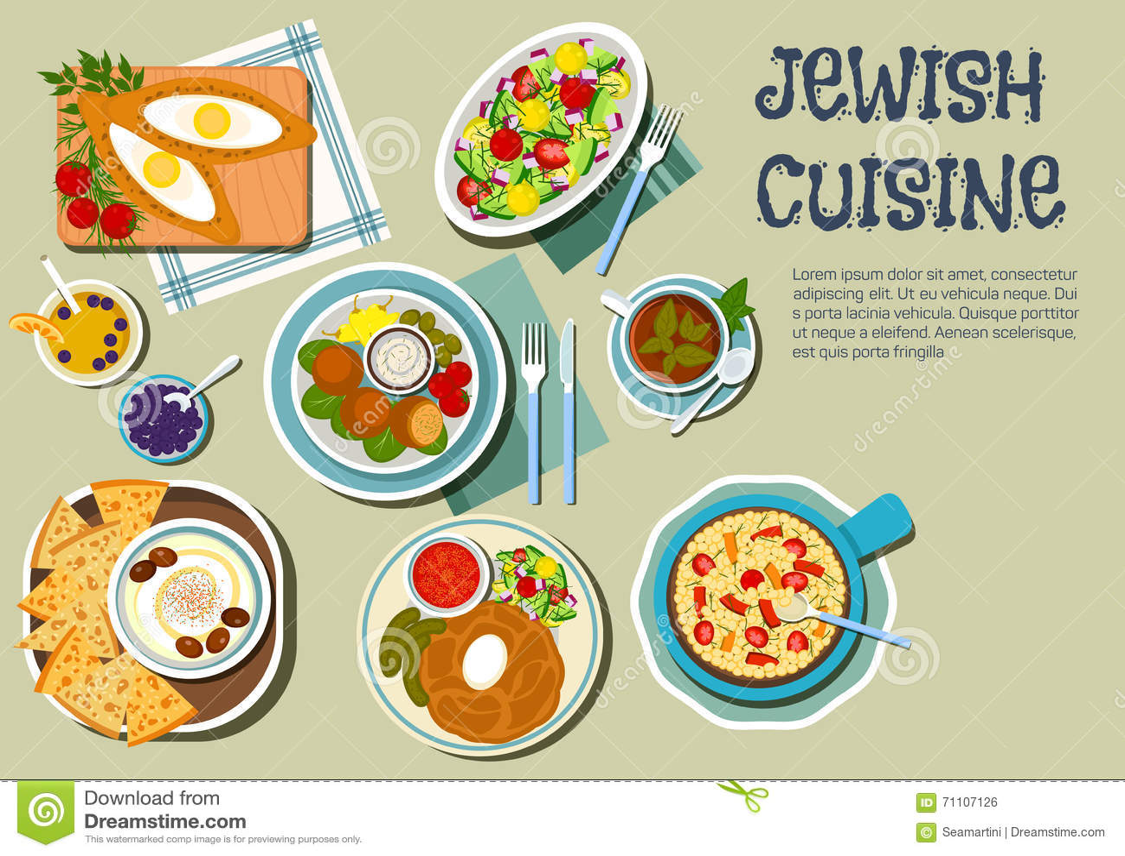 Shabbat Day Dishes Of Jewish Cuisine Flat Icon Stock ...