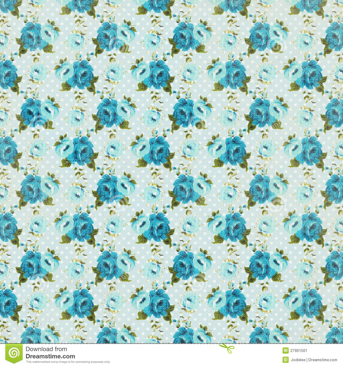 Shabby blue vintage floral rose background repeat