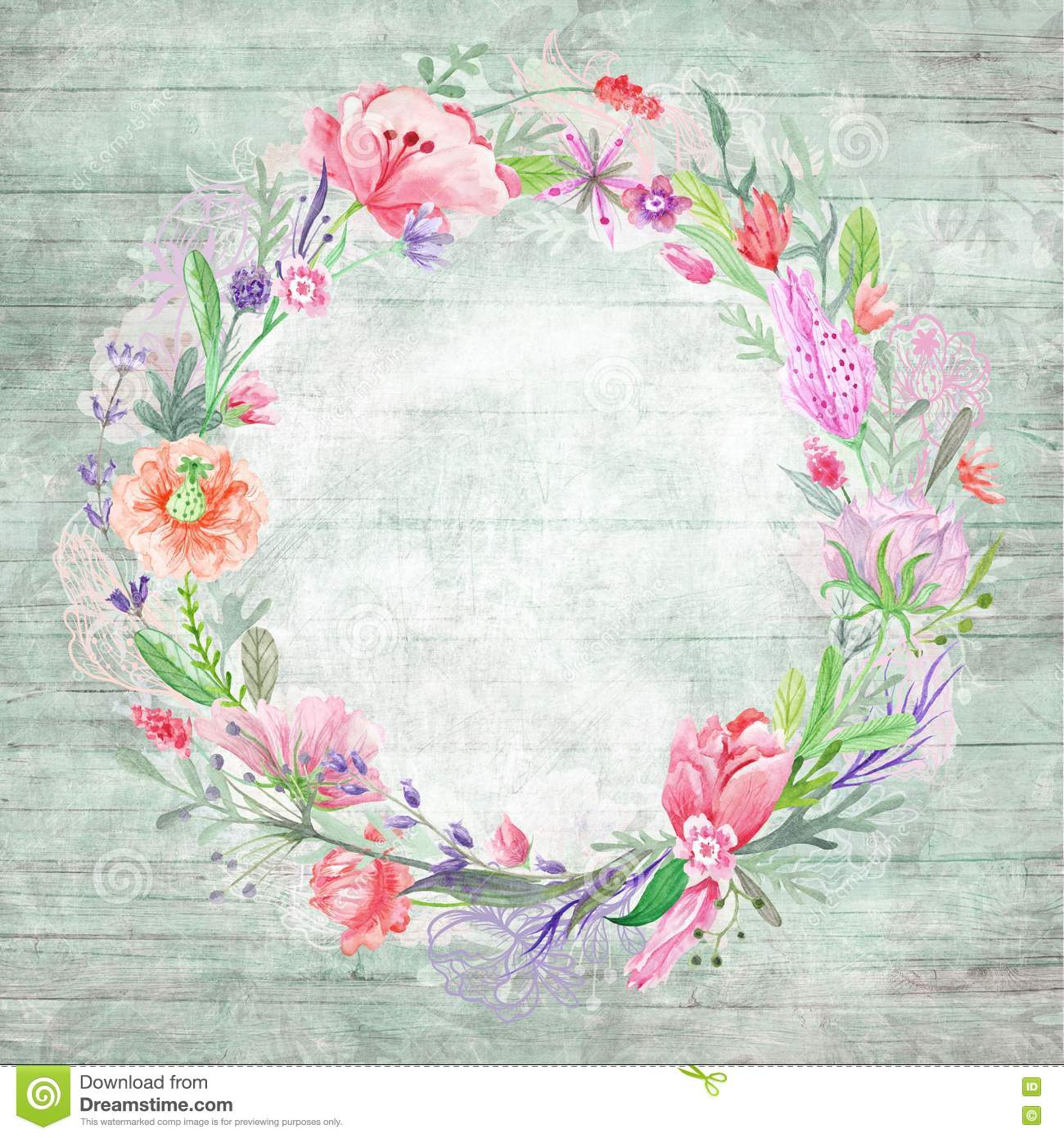 Shabby Chic Background With Floral Wreath