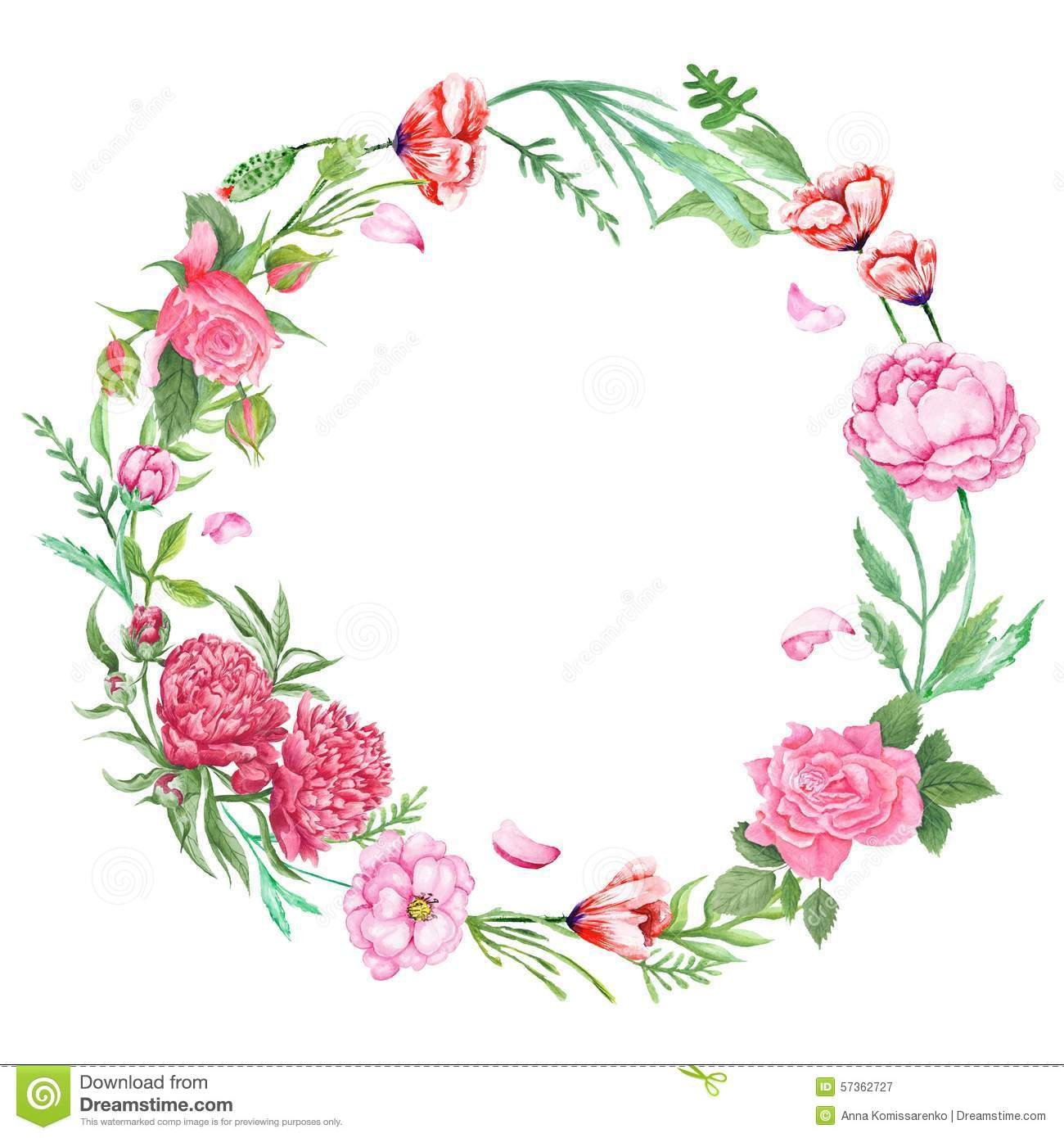 Shabby Chic Floral Wreath Illustration 57362727 - Megapixl