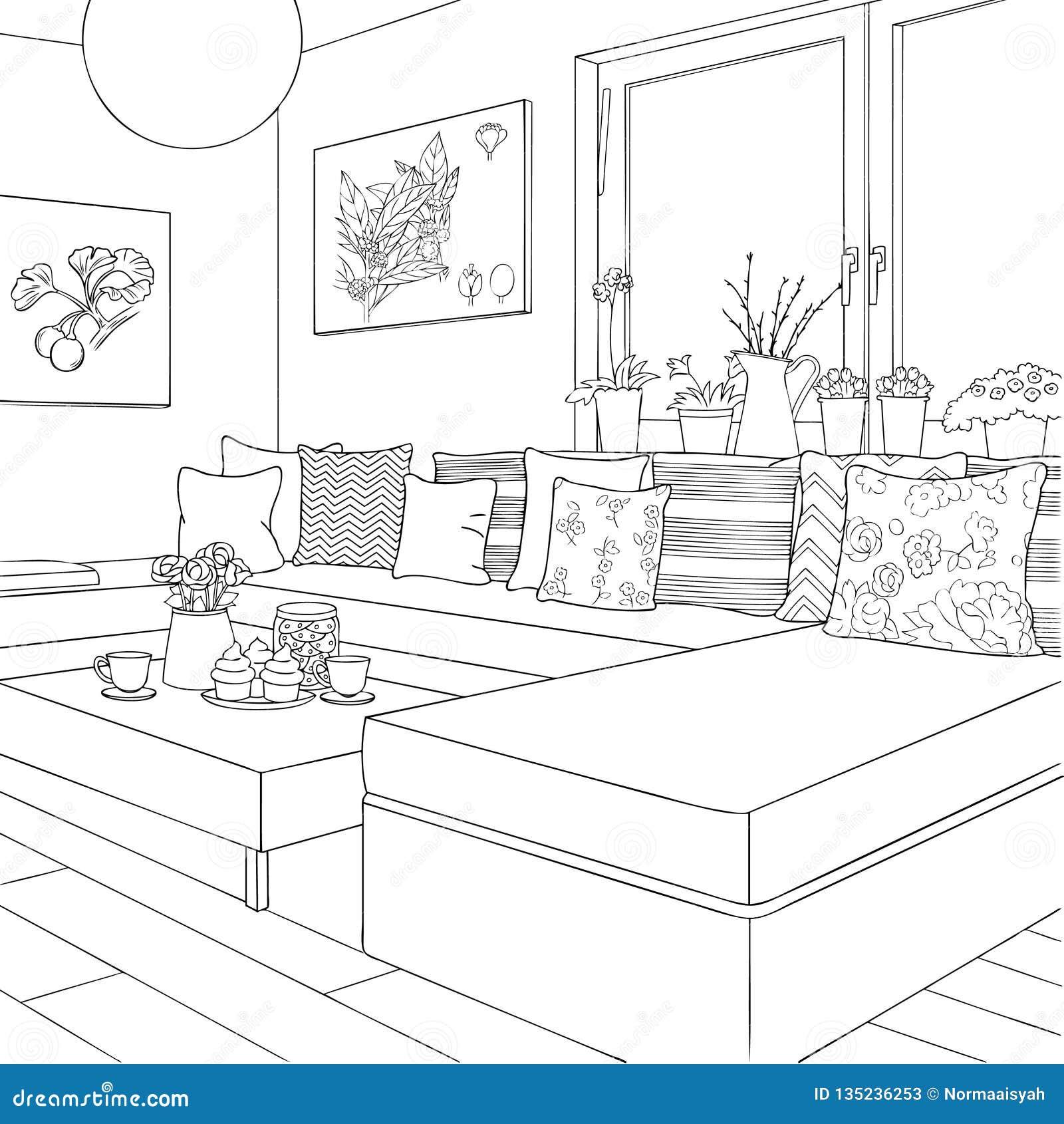 Shabby Chic Living Room Interior Outline Stock Vector