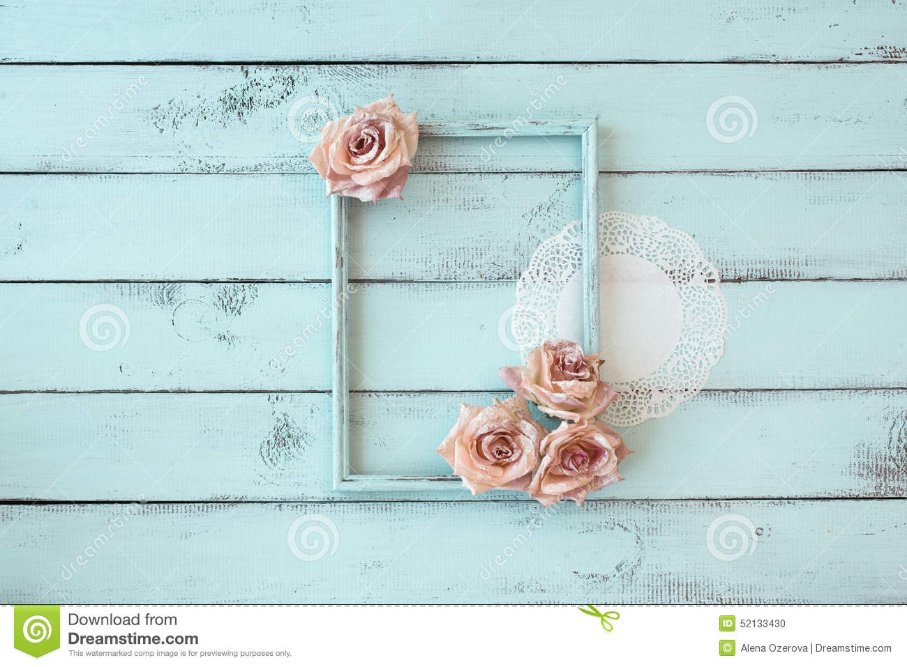 shabby chic photo frame stock photo image of roses chic 52133430. Black Bedroom Furniture Sets. Home Design Ideas