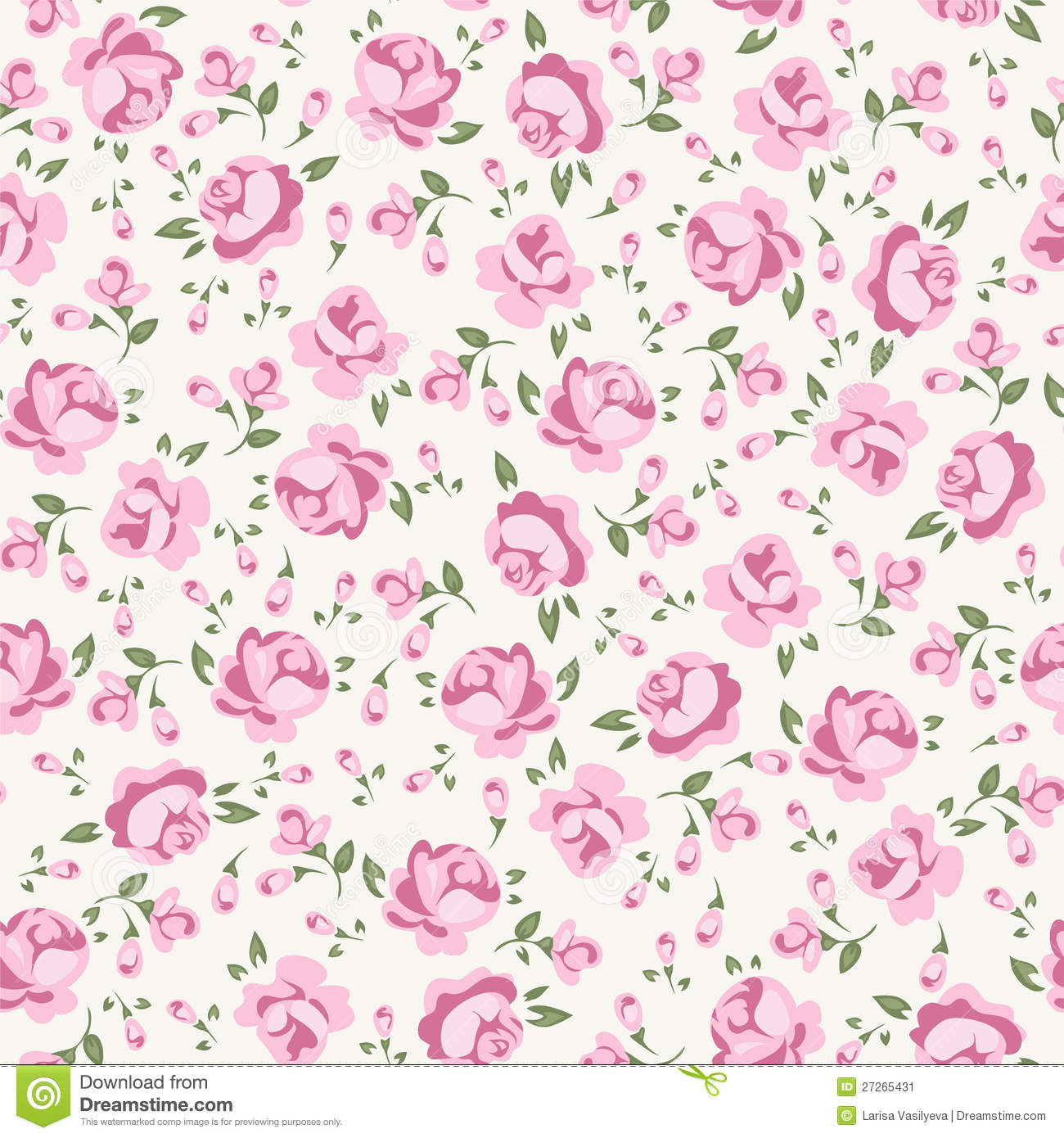 Shabby Chic Rose Pattern Scrap Booking Floral Seamless Background