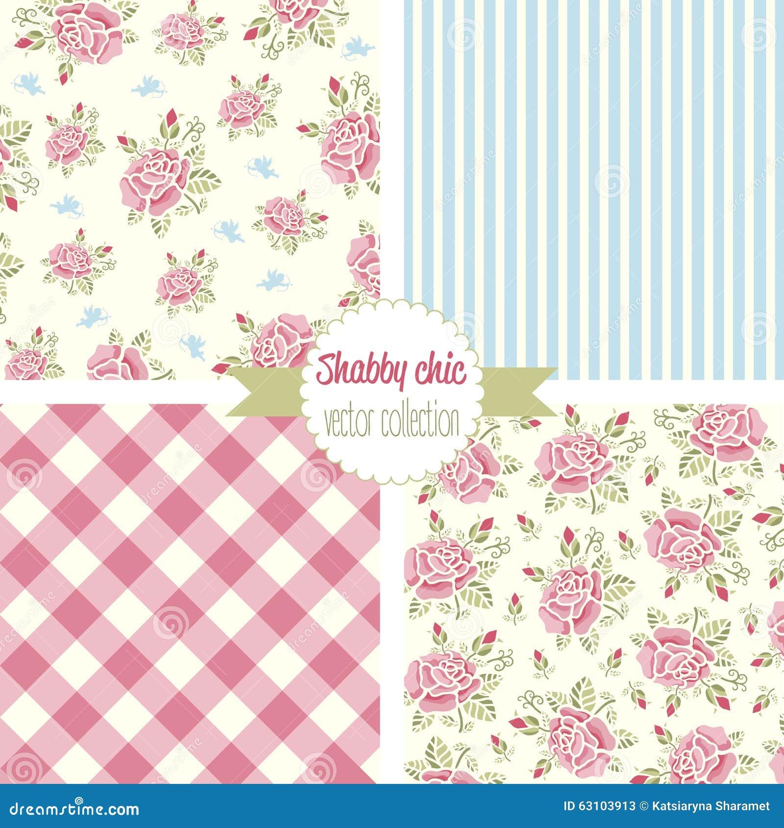 Shabby Chic Rose Patterns Set Seamless Pattern Vintage