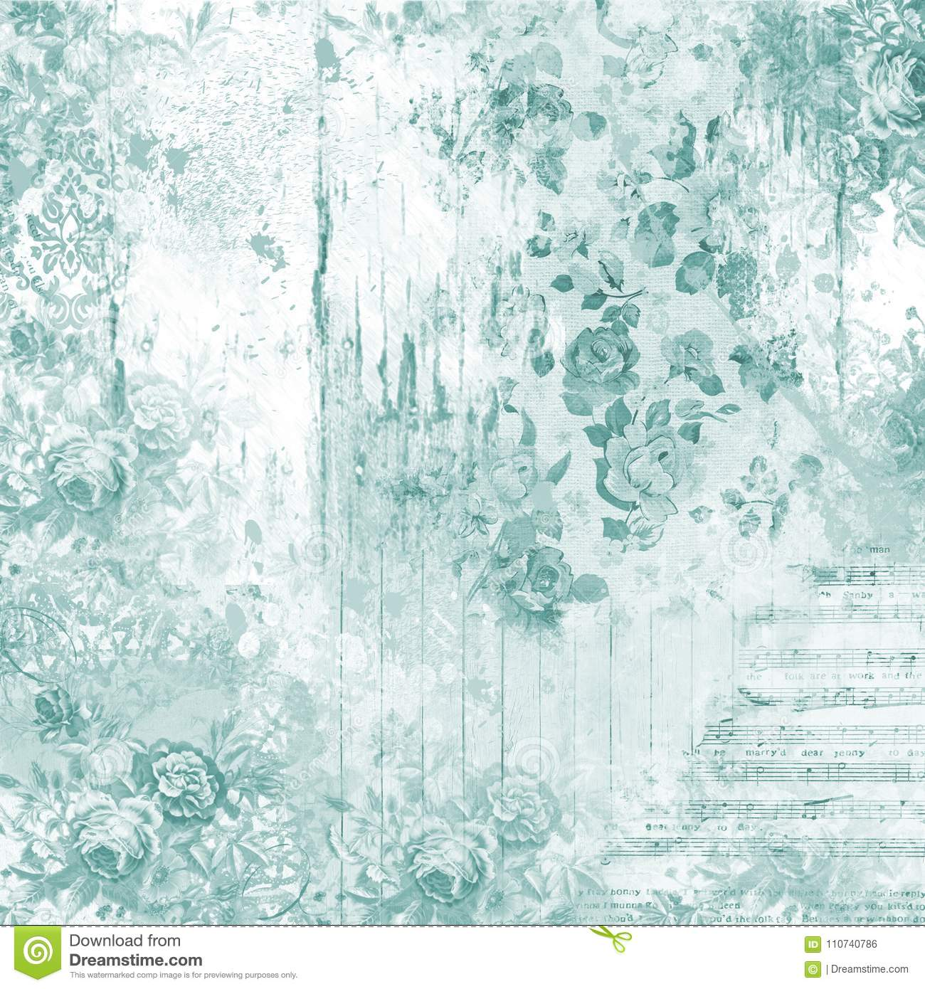 Shabby Chic Rose Textured Background Paper Scrapbooking Papercrafting Aqua Pattern Stock Illustration Illustration Of Papercrafting Distressing 110740786