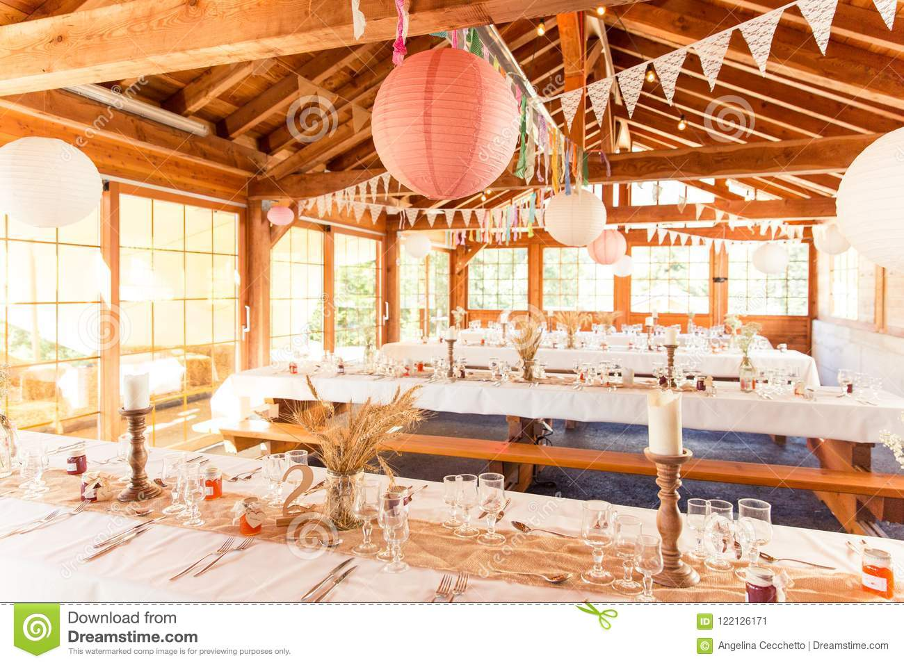 Shabby Chic Rustic Wedding Table Wheat Decoration Stock Image ...