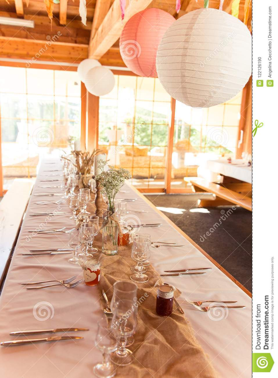 Shabby Chic Rustic Wedding Table Wheat Decoration And Speric Paper ...