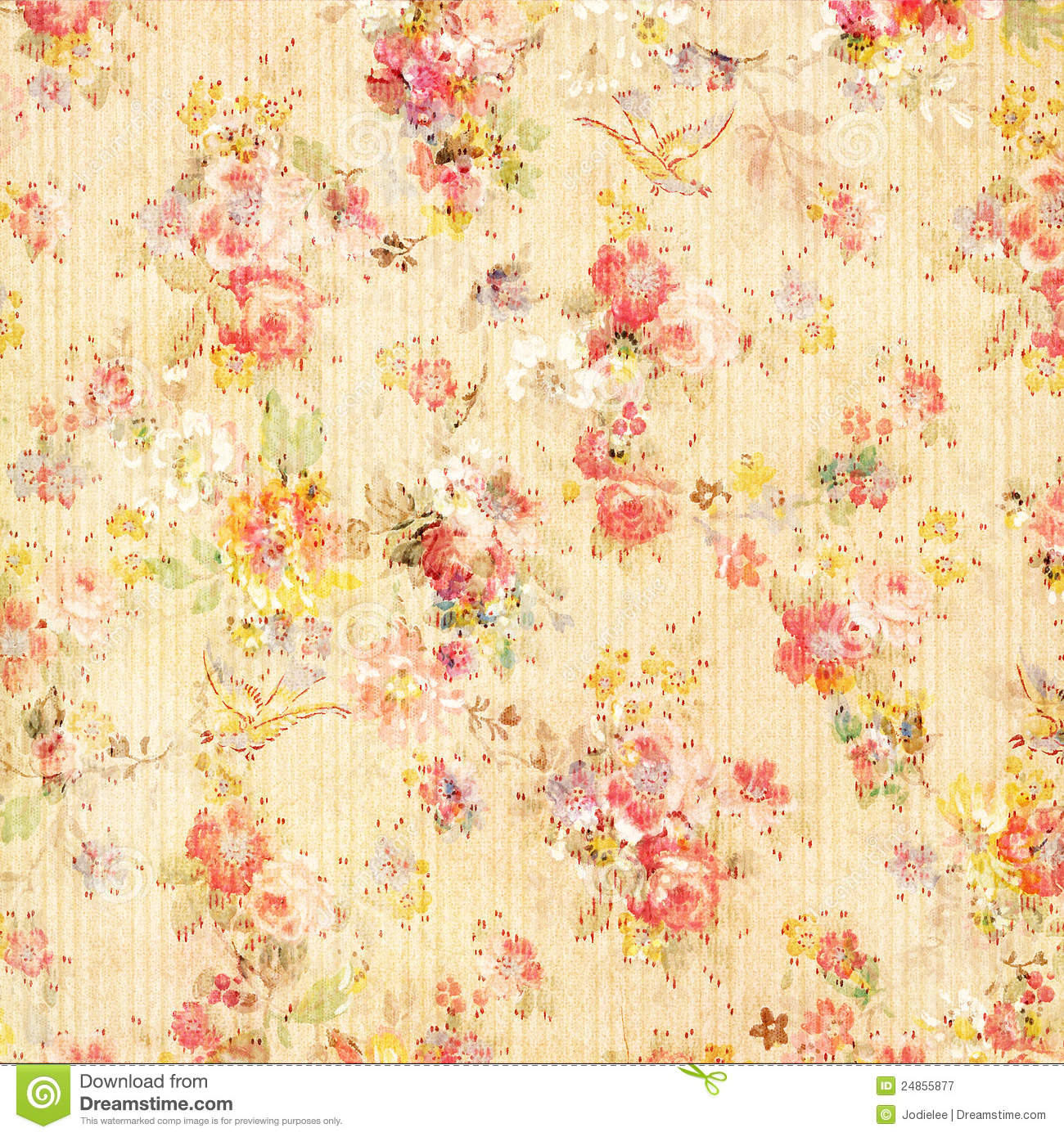 Shabby Chic Vintage Antique Rose Floral Wallpaper Stock Image
