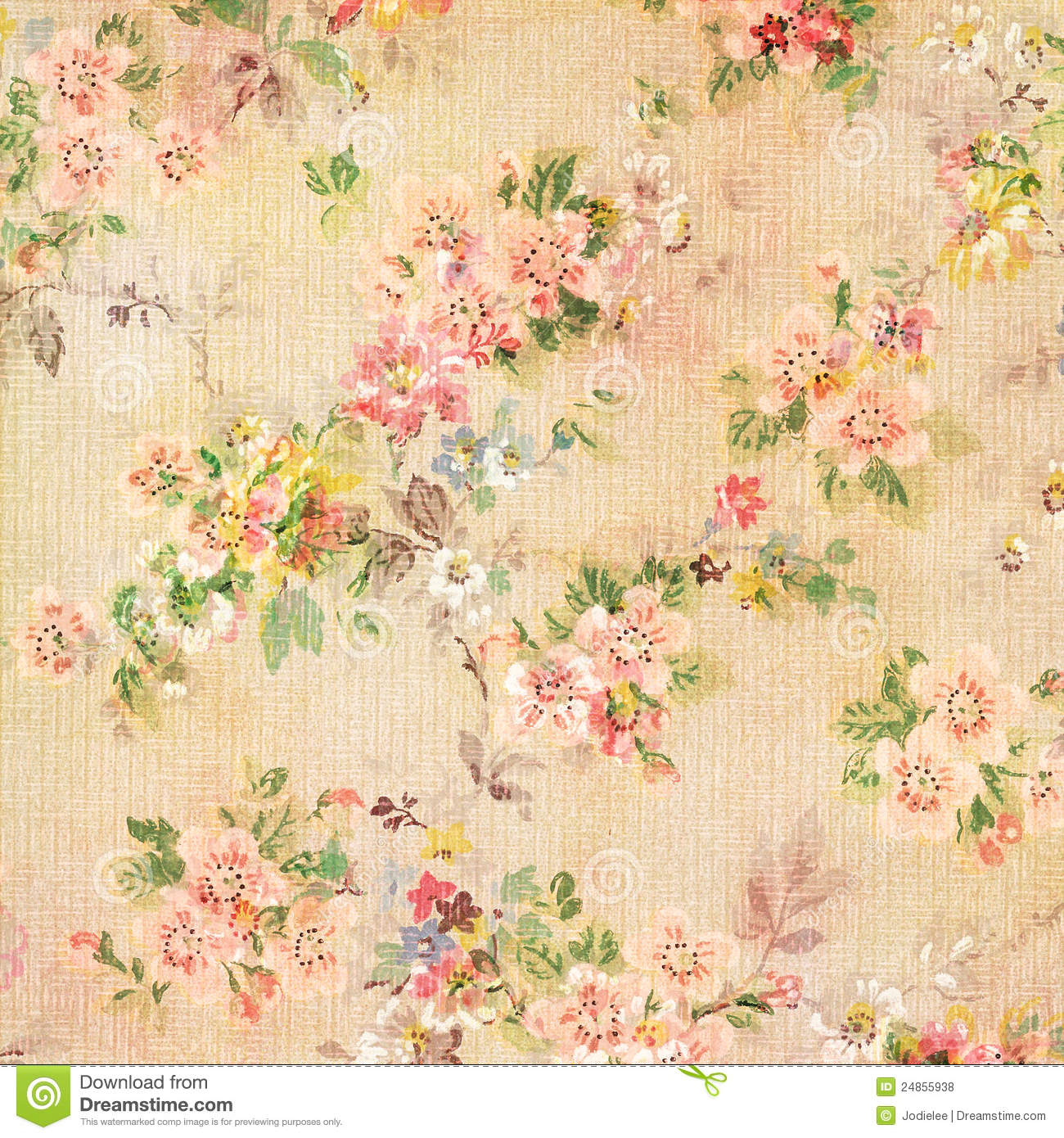 Shabby Chic Vintage Antique Rose Floral Wallpaper Stock Photo