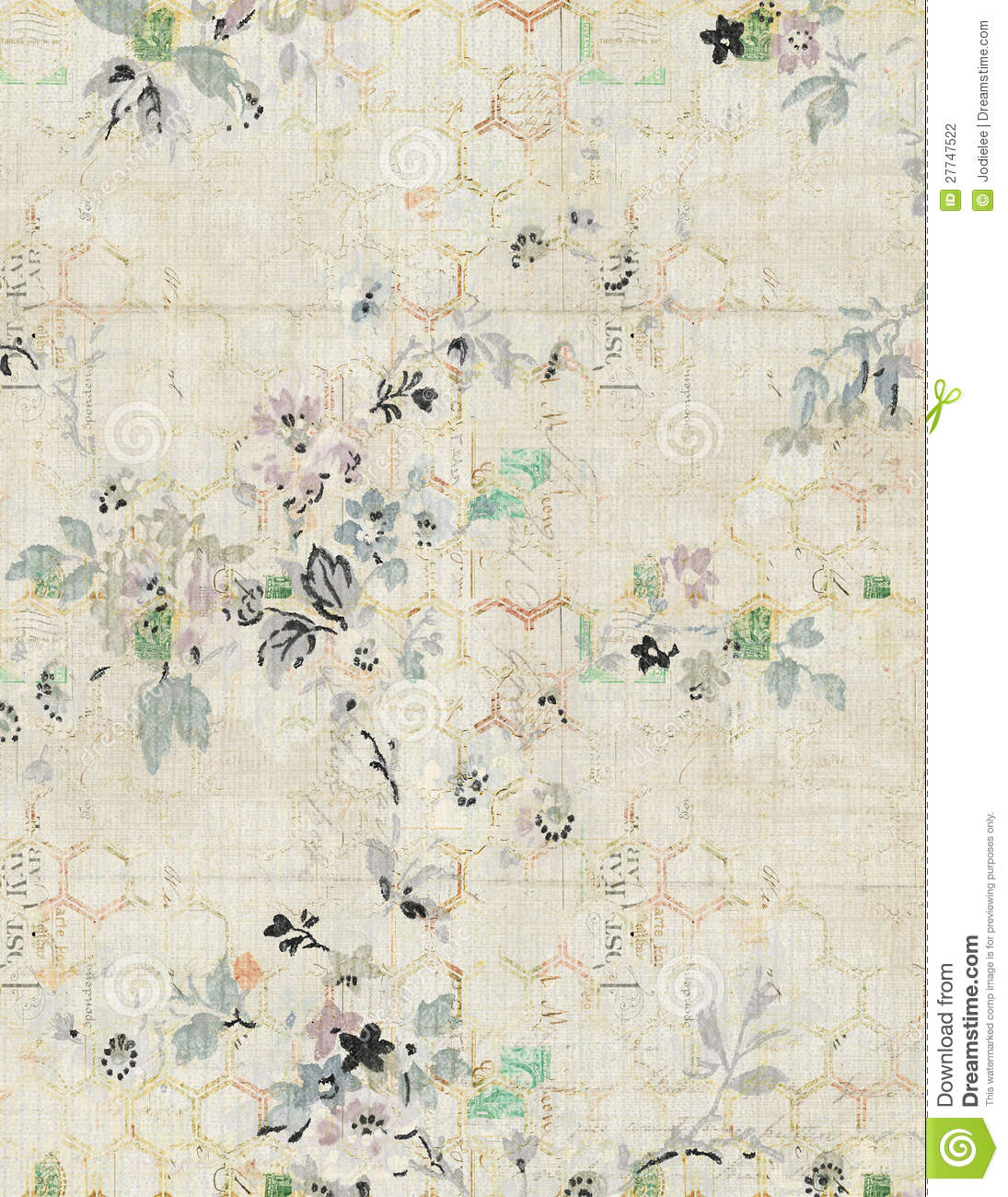 Shabby Chic Vintage Floral Background Stock Photography
