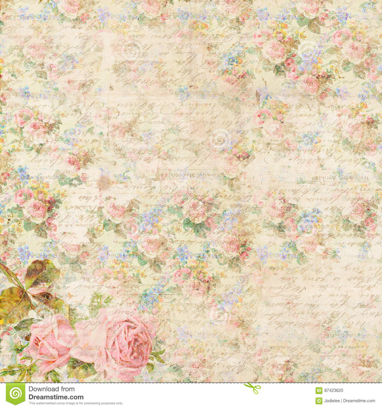 Shabby chic vintage flower background with antique handwriting script