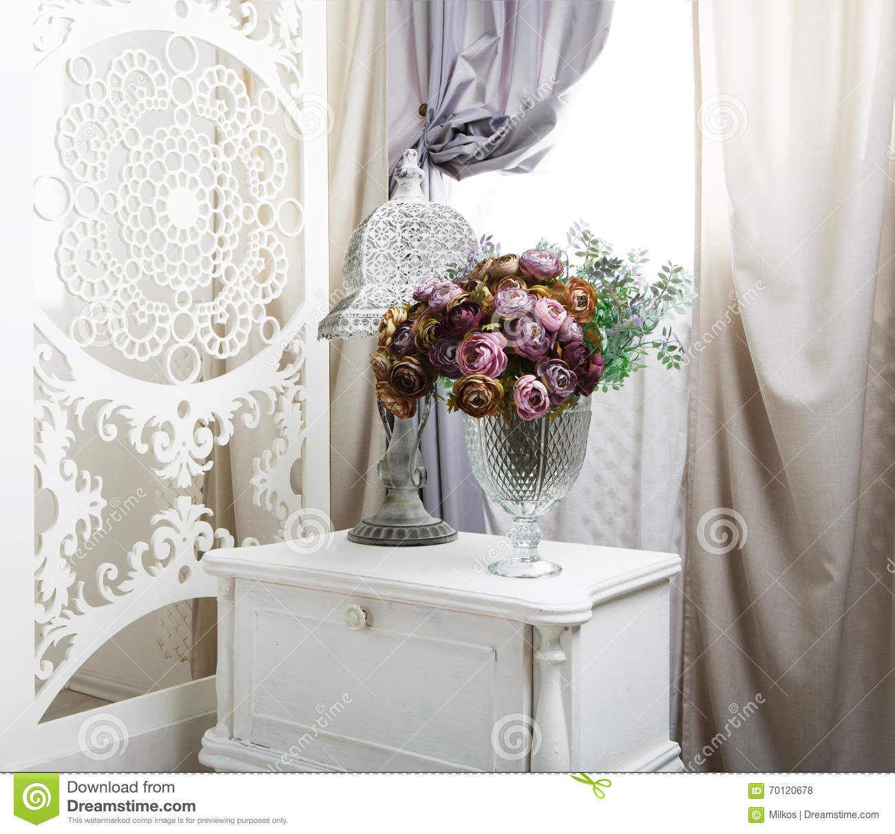 shabby chic white room interior wedding decor stock photo. Black Bedroom Furniture Sets. Home Design Ideas