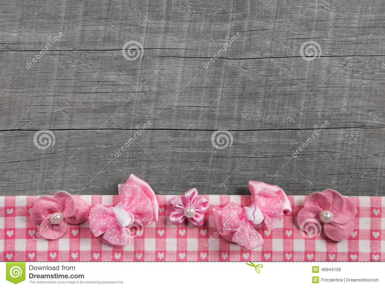 Shabby Chic Wooden Grey Background With Pink Ribbon On ...