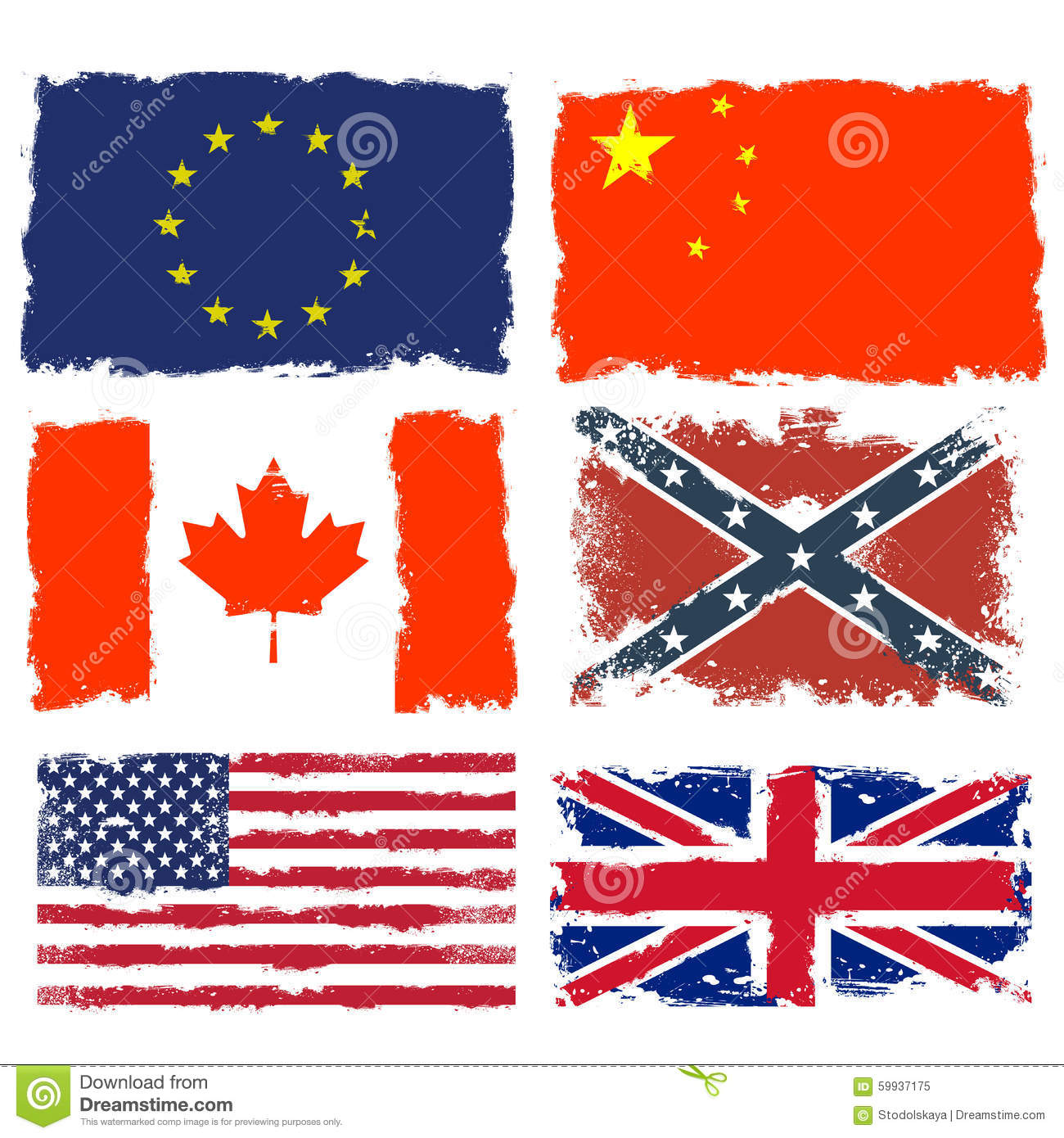 shabby flags of canada china confederate army european union