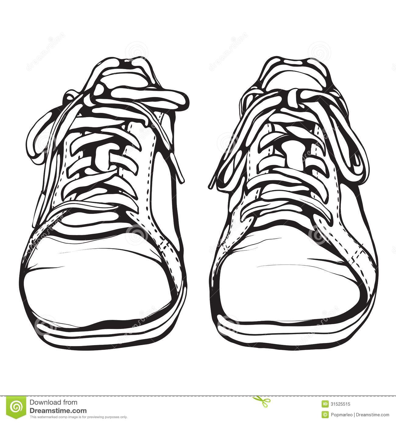 Shabby Running Shoes In Black Ink Royalty Free Stock Photo ...