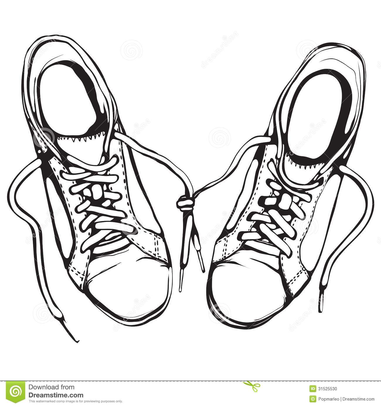Shabby Running Shoes In Black Ink Stock Photo - Image ...