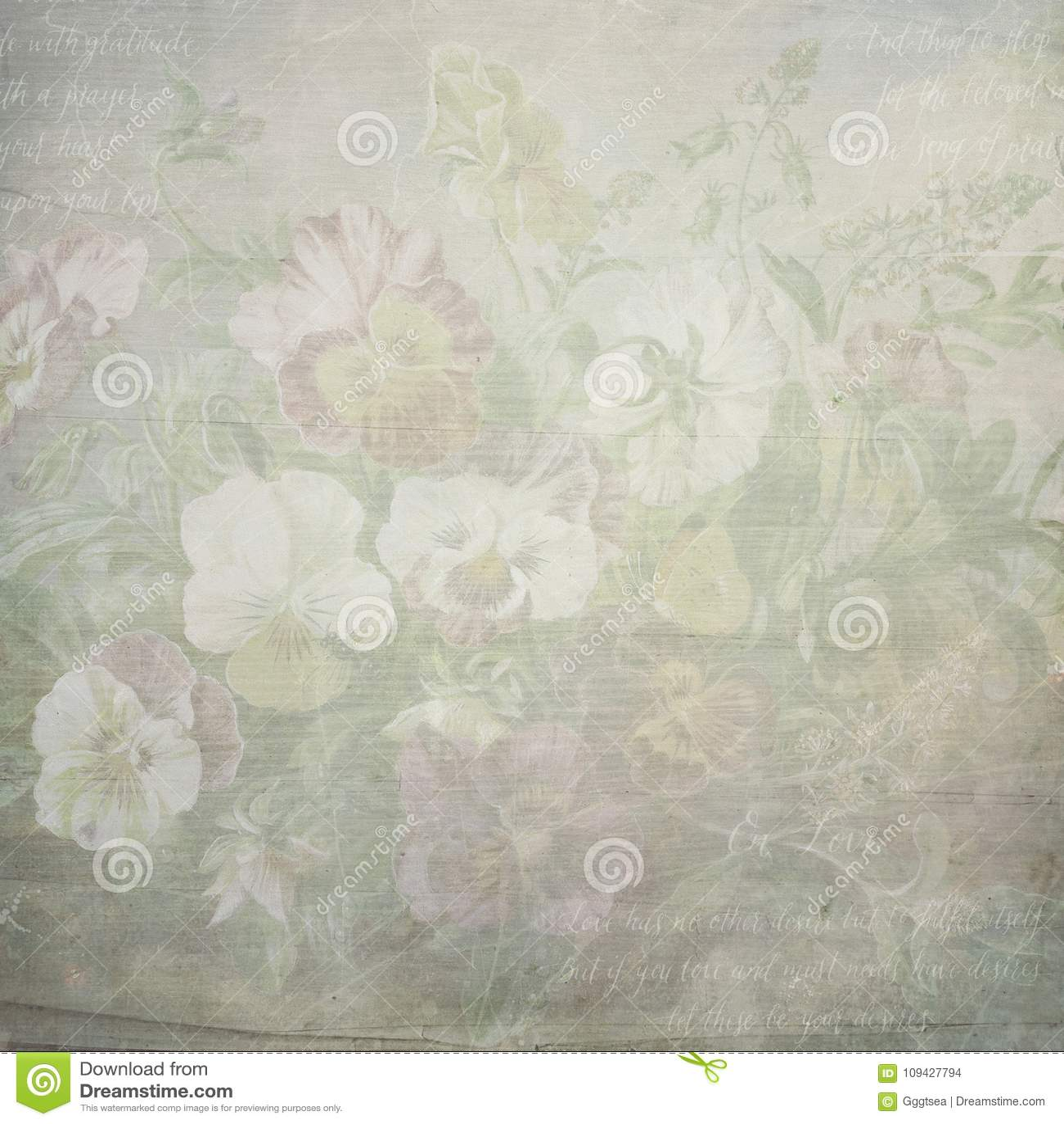 Shabby vintage botanic flowers paper texture