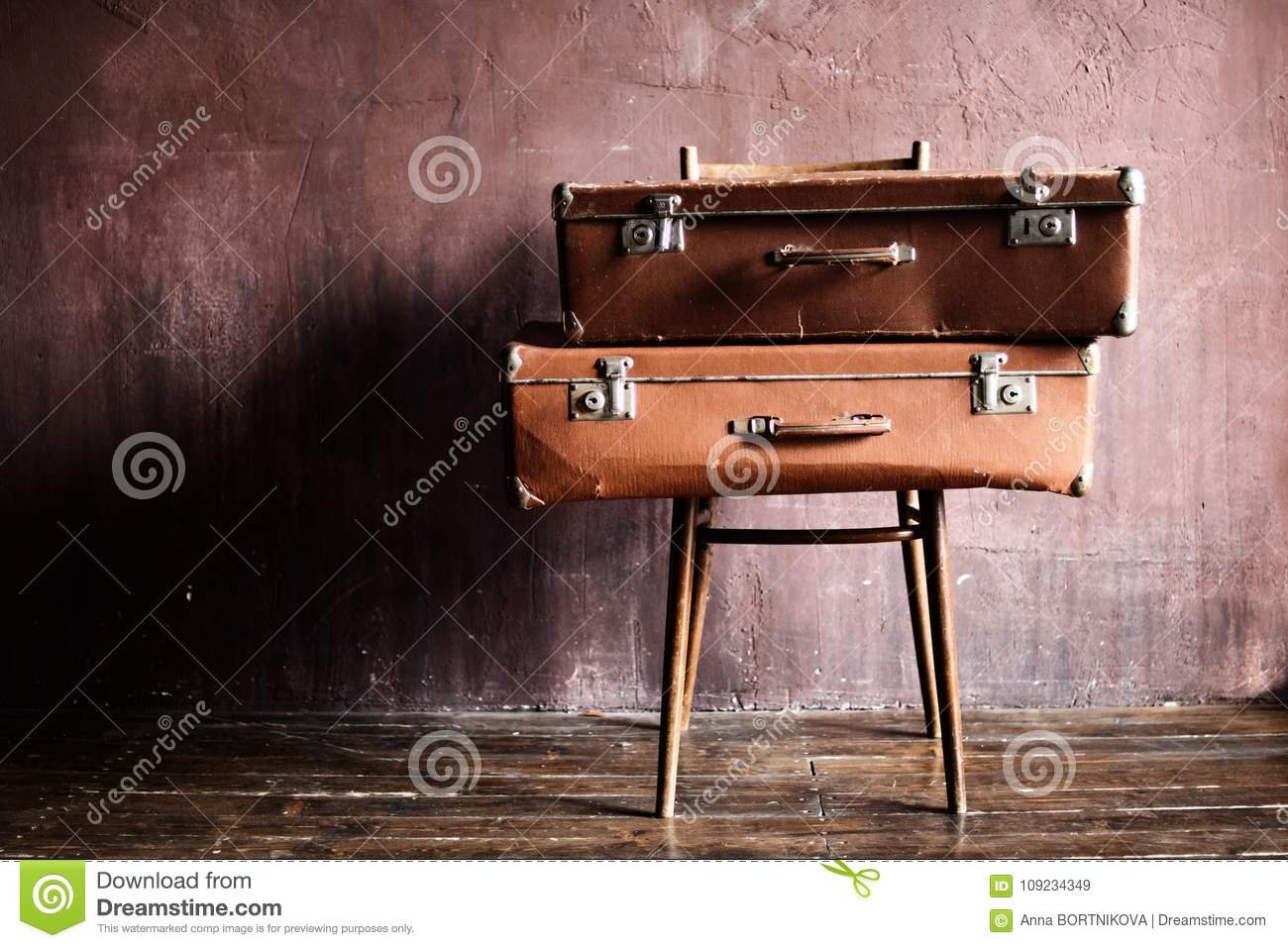 Shabby Vintage Stacked Ancient Suitcases Travel