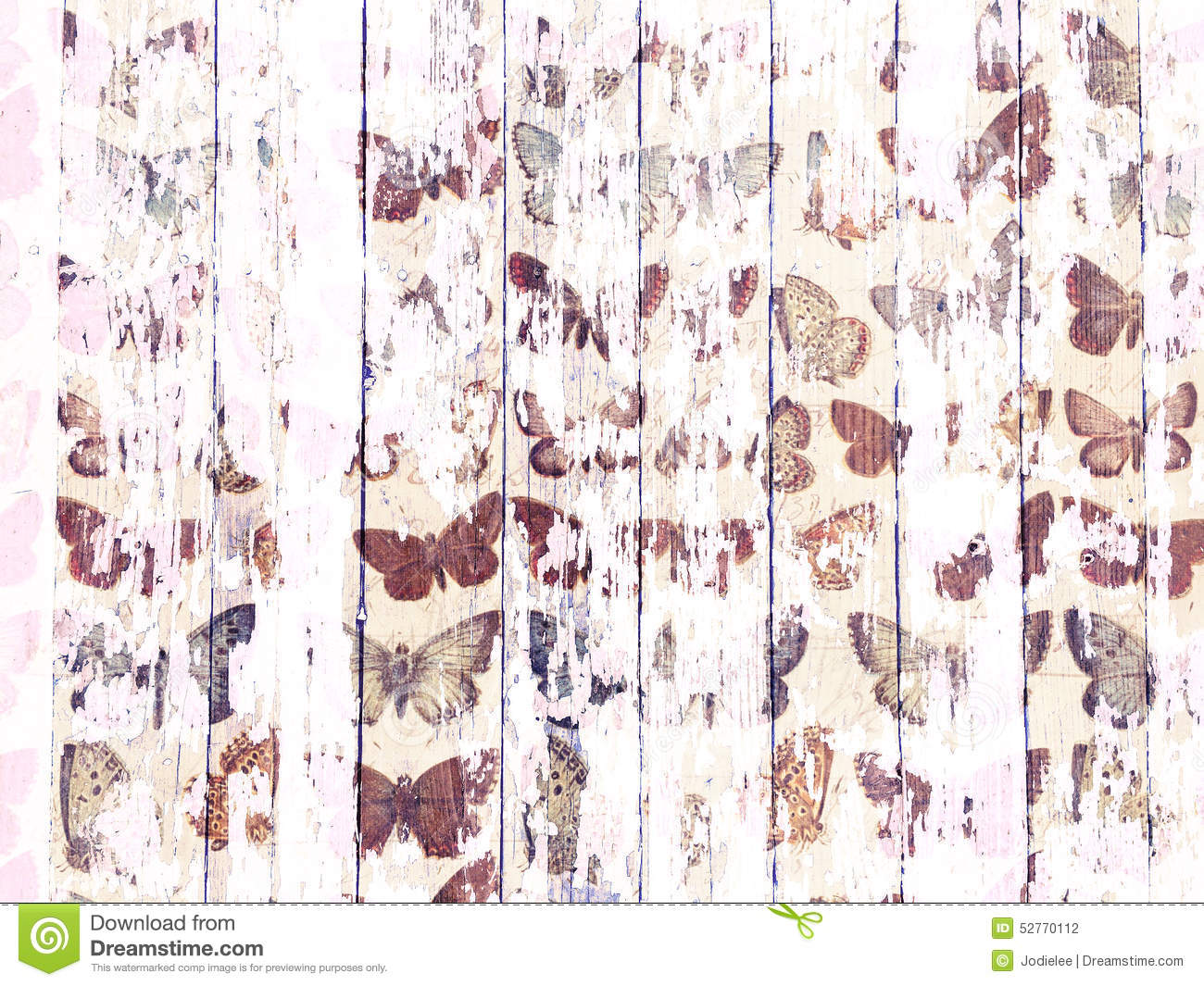 Shabby wood-grain texture white washed with distressed butterfly pattern