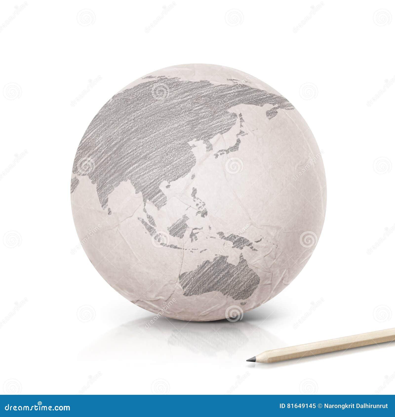 Shade Asia & Australia map on paper globe