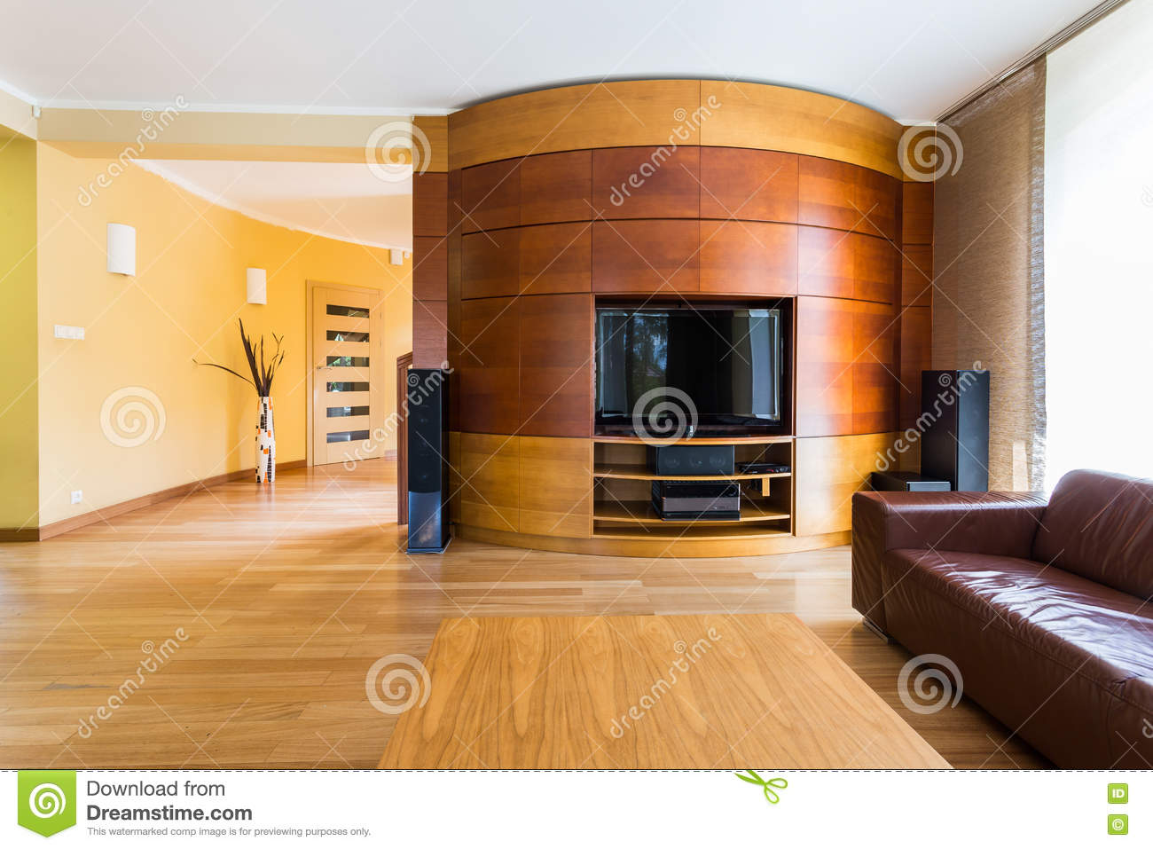 Shades Of Brown In Tv Living Room Stock Photo Image Of Luxury Design 75204432