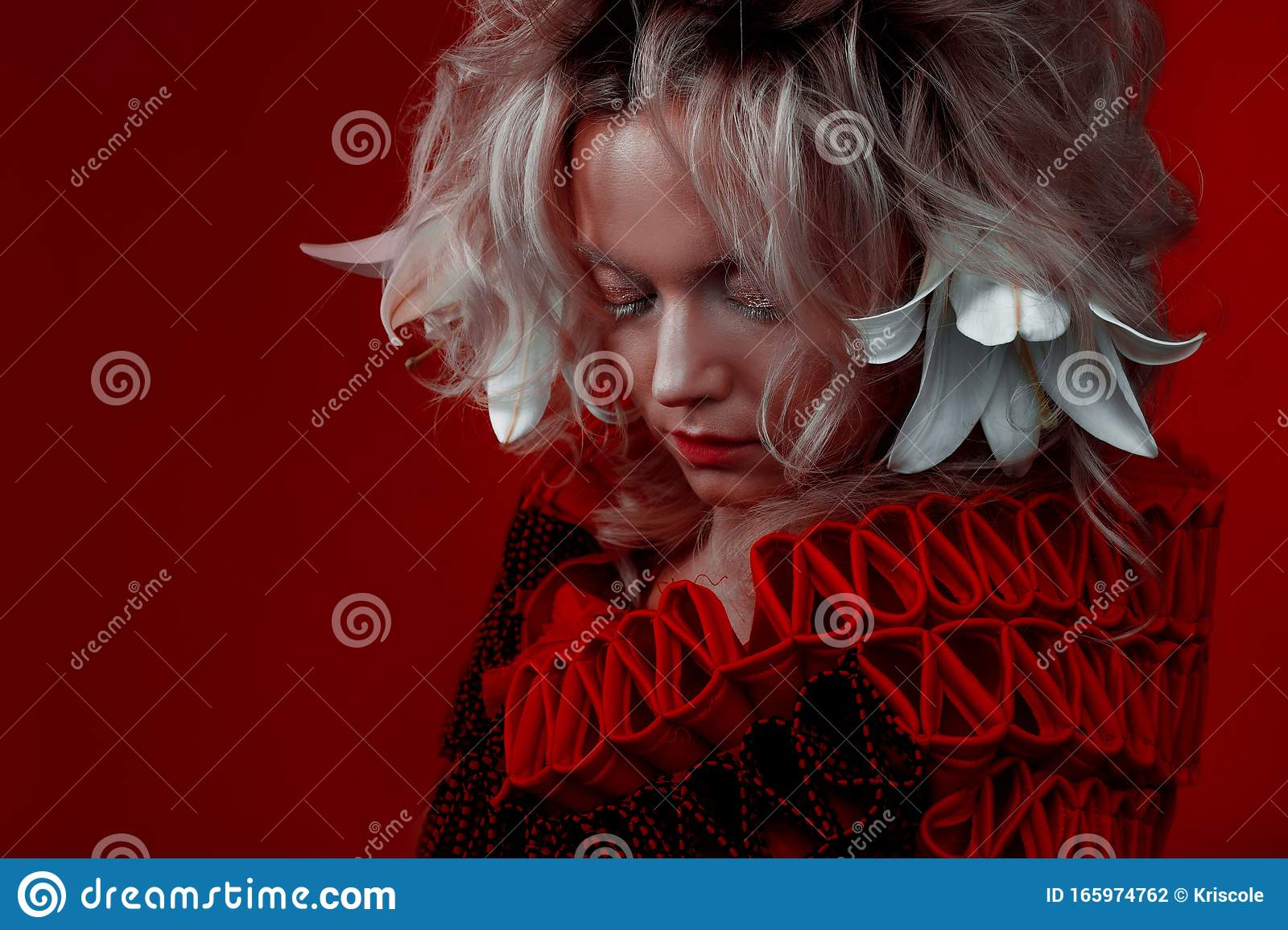 Shades Of Red Strange Attractive Woman In A Red Outfit On A Red Background With Lily Flowers In Her Hair Stock Photo Image Of Portrait Fantasy 165974762