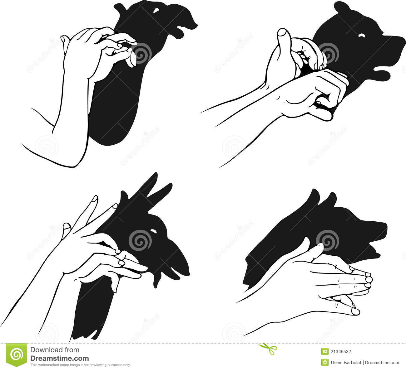 shadow of hands forming animal head stock vector illustration of