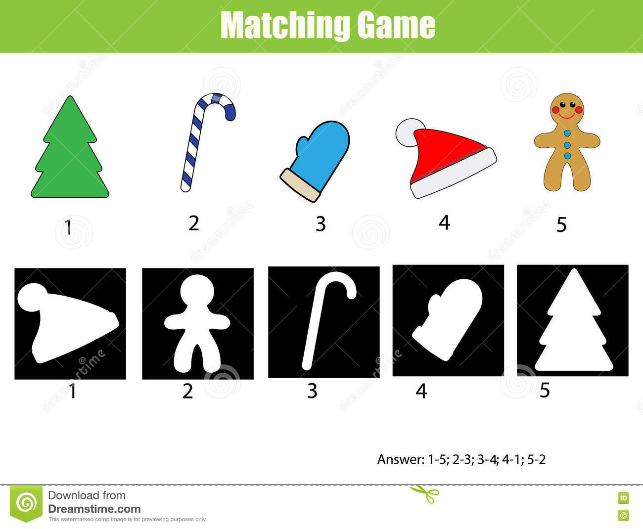 shadow matching game christmas theme kids activity worksheet