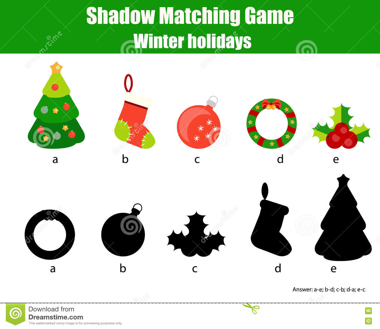 Shadow Matching Game. Christmas Theme, Kids Activity, Worksheet ...