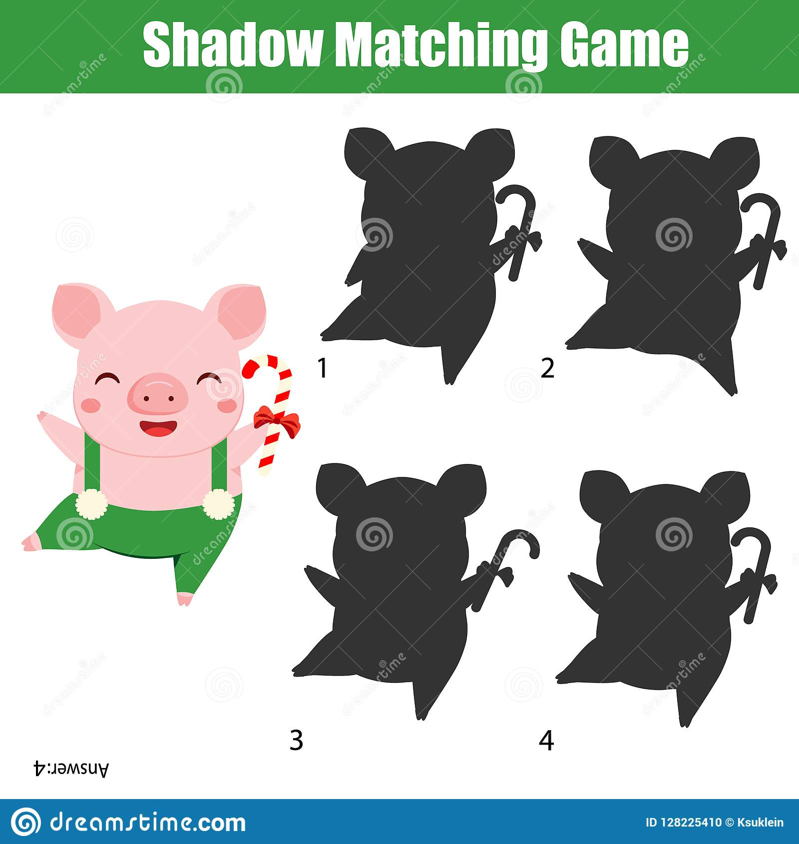 shadow matching game kids activity with funny pig holding christmas candy cane new year