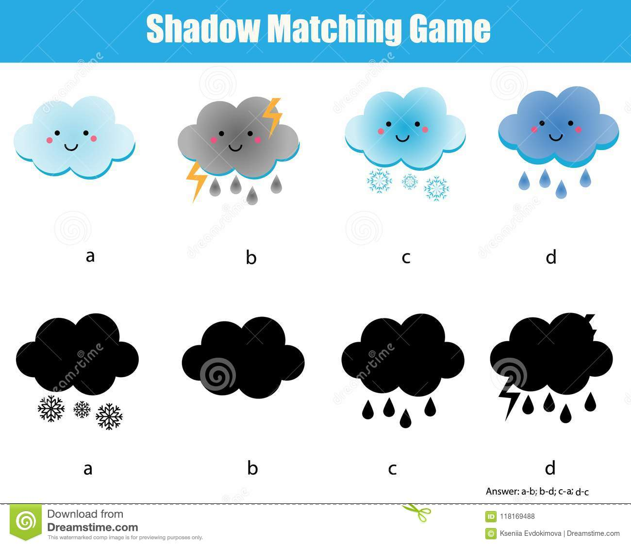 shadow matching game kids educational activity with cute clouds