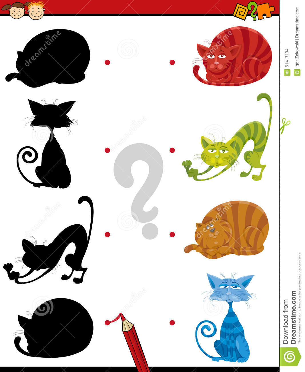 Shadow task with cats for children