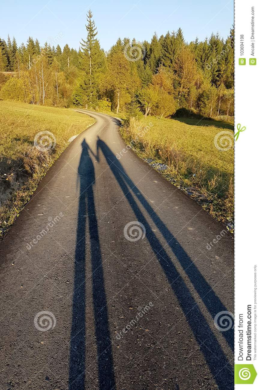 Shadows of a couple on a country road
