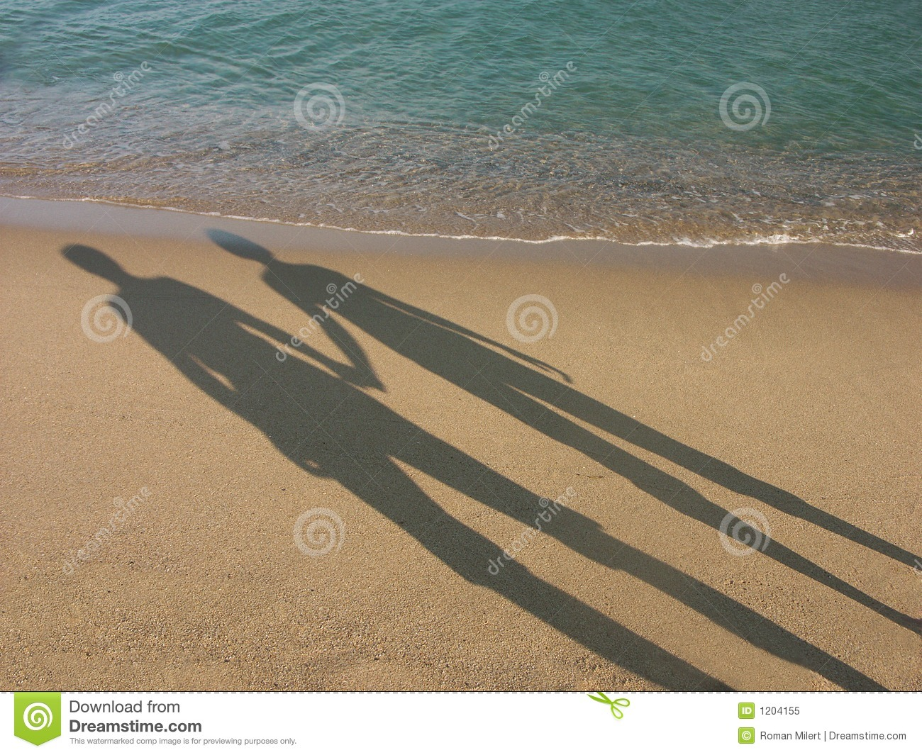 Shadows of loving couple