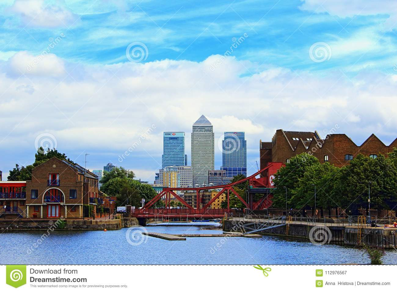 Shadwell Basin Canary Wharf buildings London Great Britain