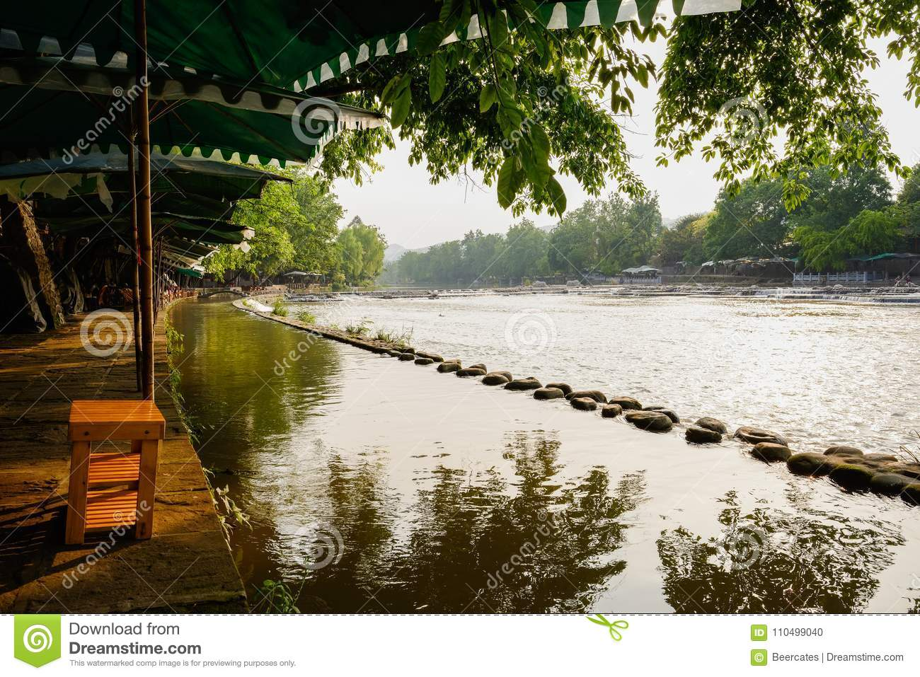 shady riverside in sunny summer afternoonchina stock