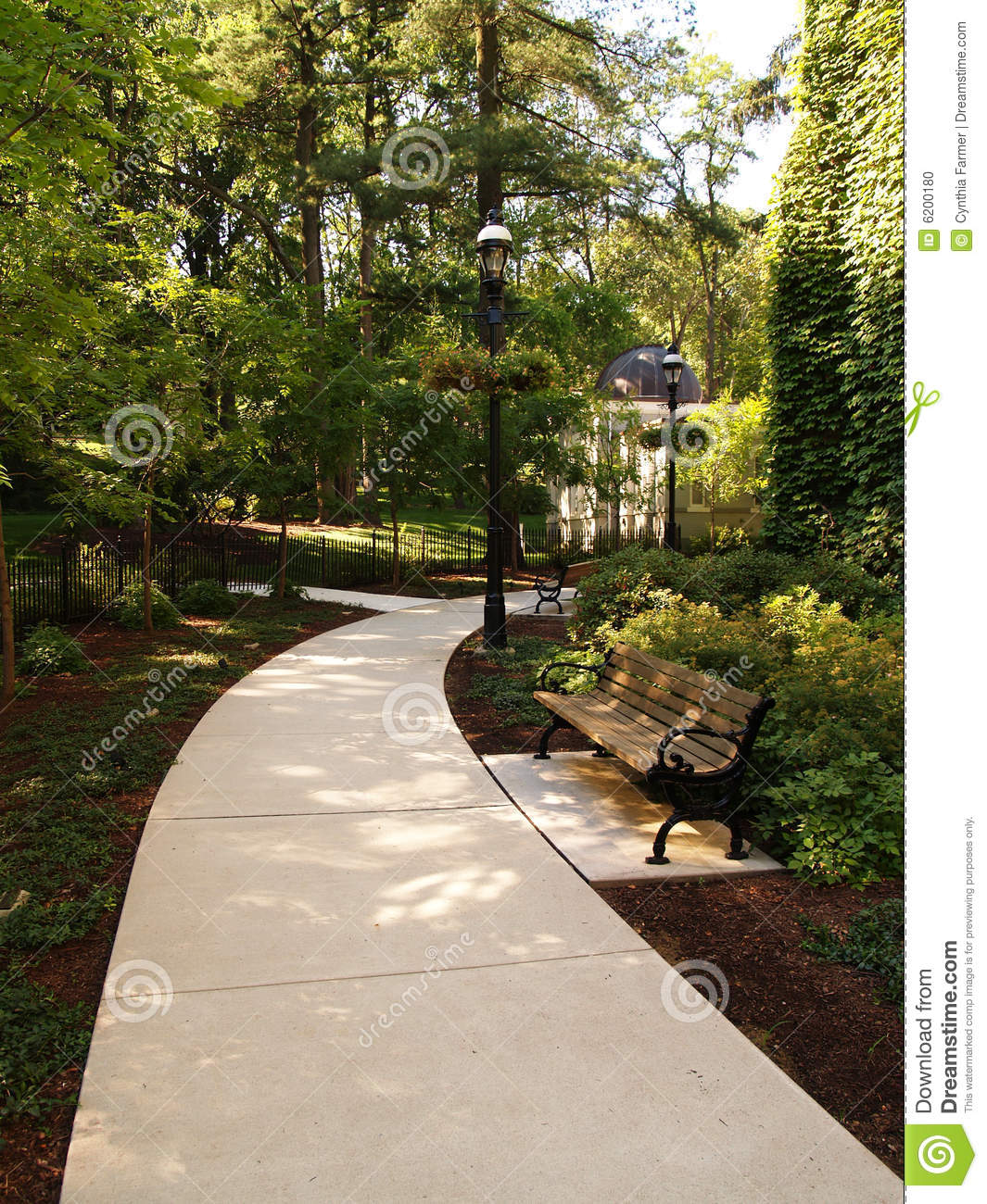 Shady Walkway And Park Bench Stock Photo - Image: 6200180