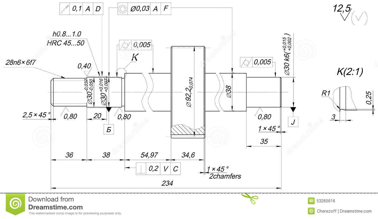 Drawing Lines Engineering : Shaft sketch with chamfers engineering drawing stock