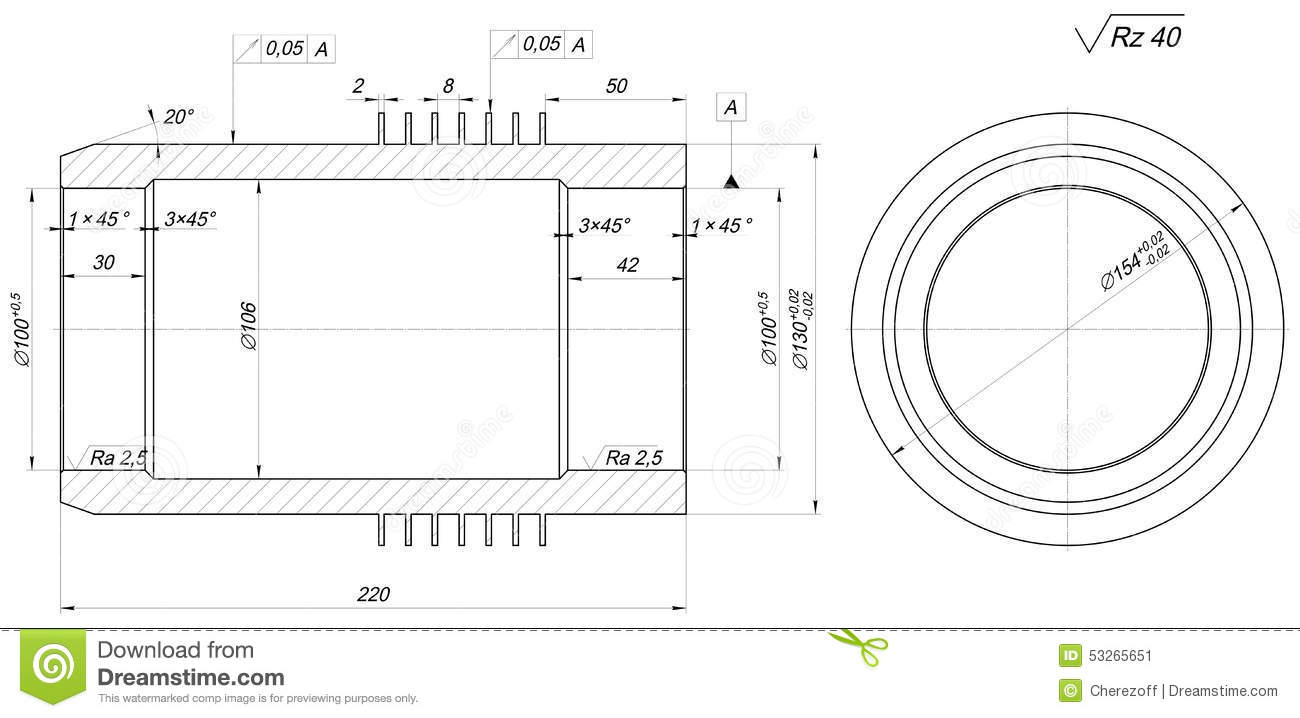 Shaft sketch engineering drawing with hatching stock