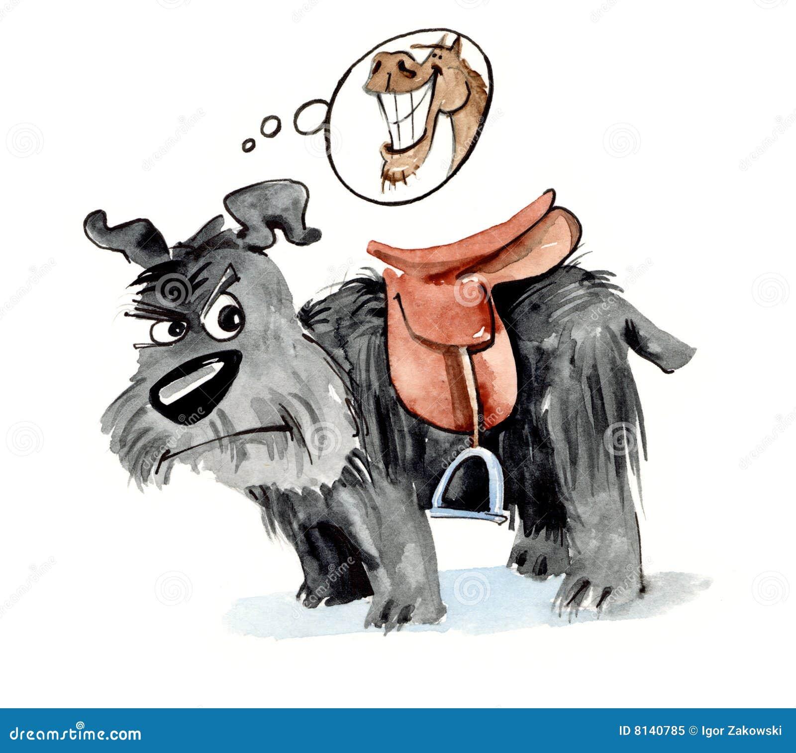 Shaggy Hund mit Sattel