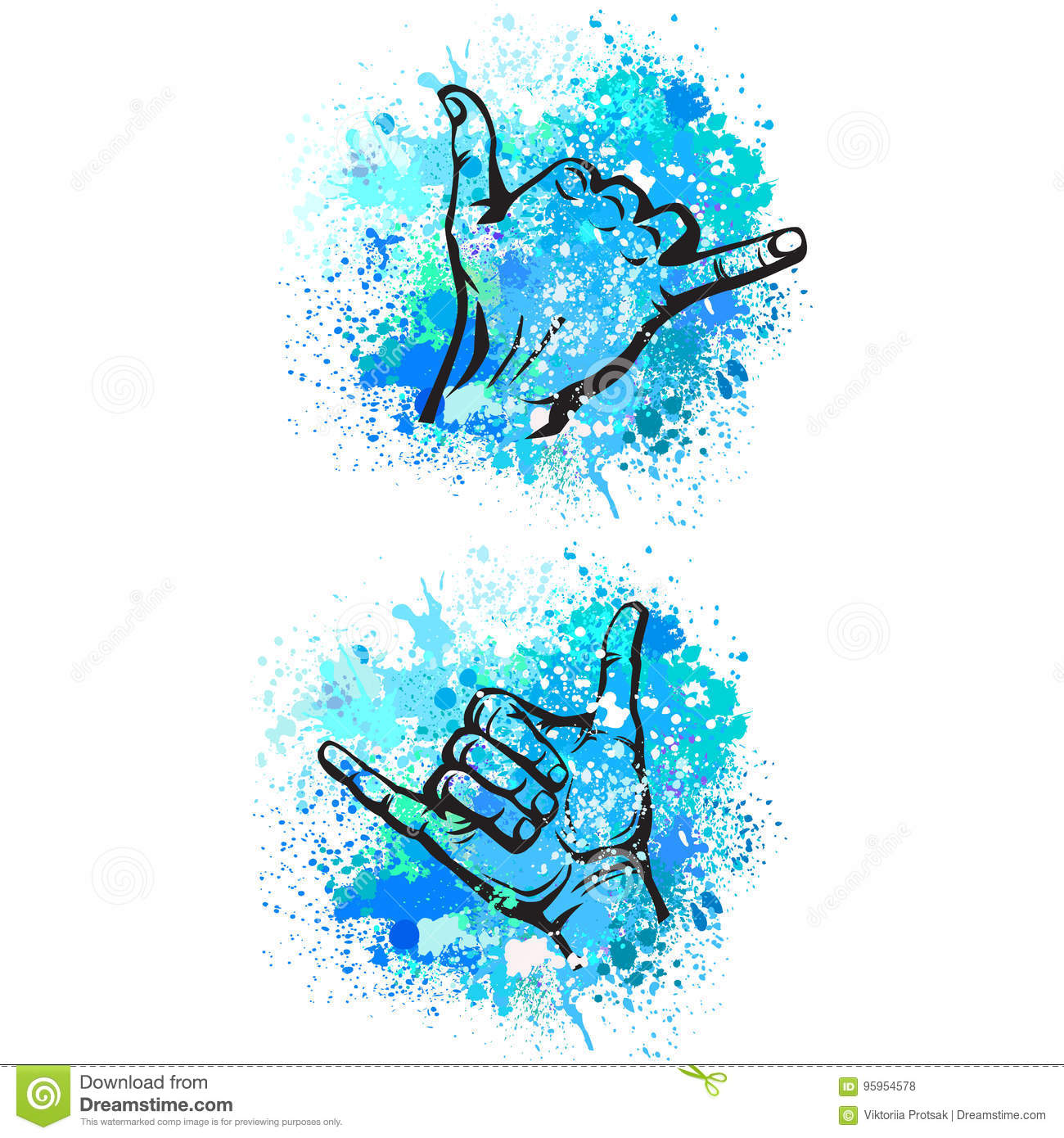 Shaka Hand Sign Stock Vector Illustration Of Hand Wave 95954578